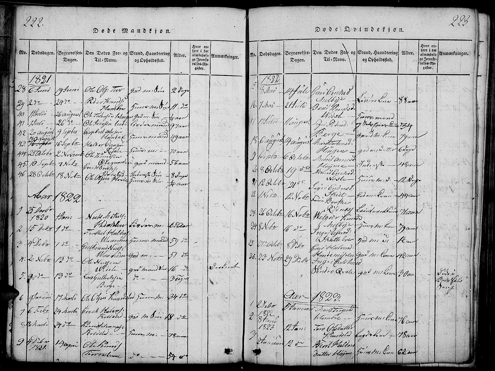 SAH, Slidre prestekontor, Ministerialbok nr. 2, 1814-1830, s. 222-223