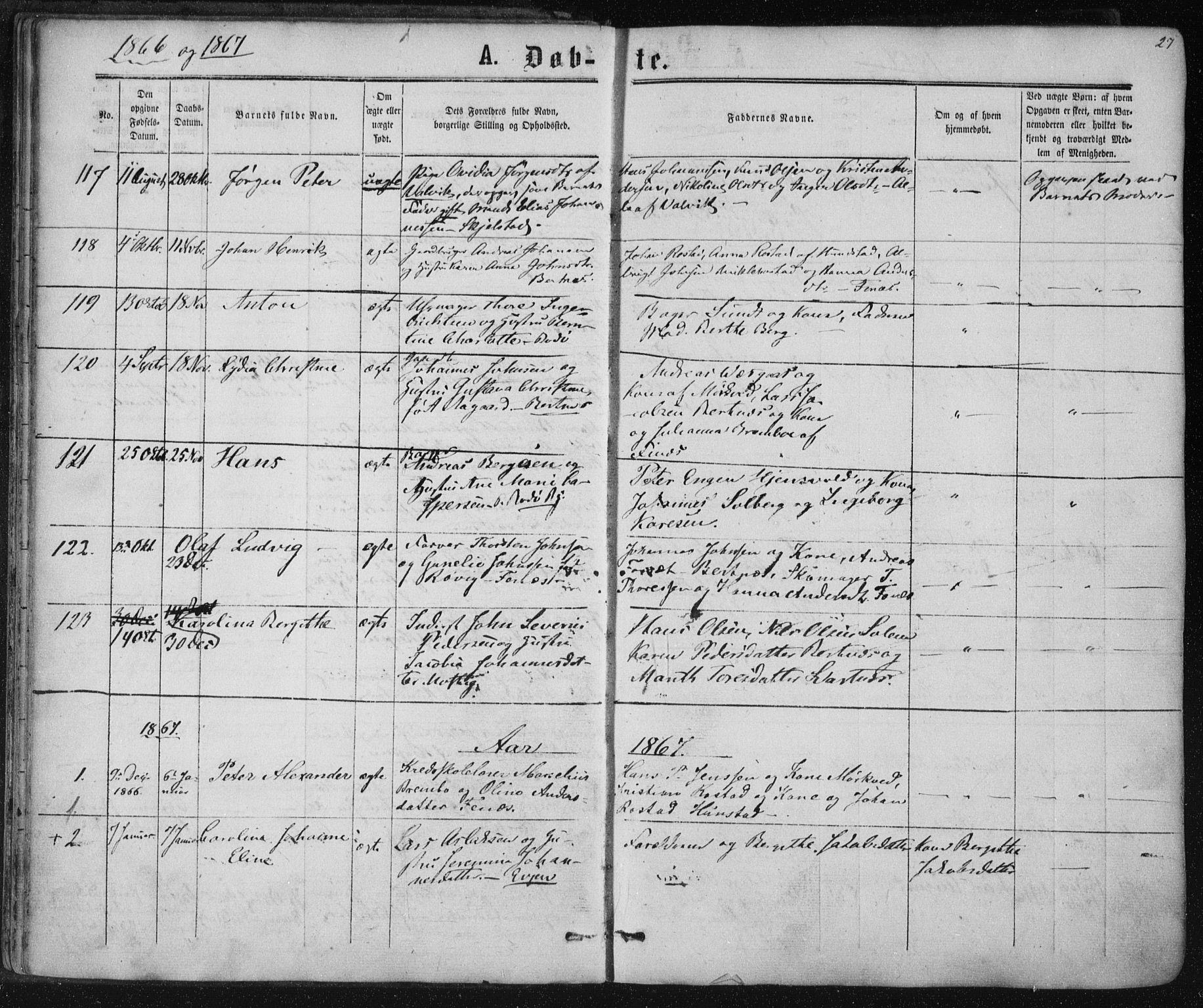 SAT, Ministerialprotokoller, klokkerbøker og fødselsregistre - Nordland, 801/L0008: Ministerialbok nr. 801A08, 1864-1875, s. 27