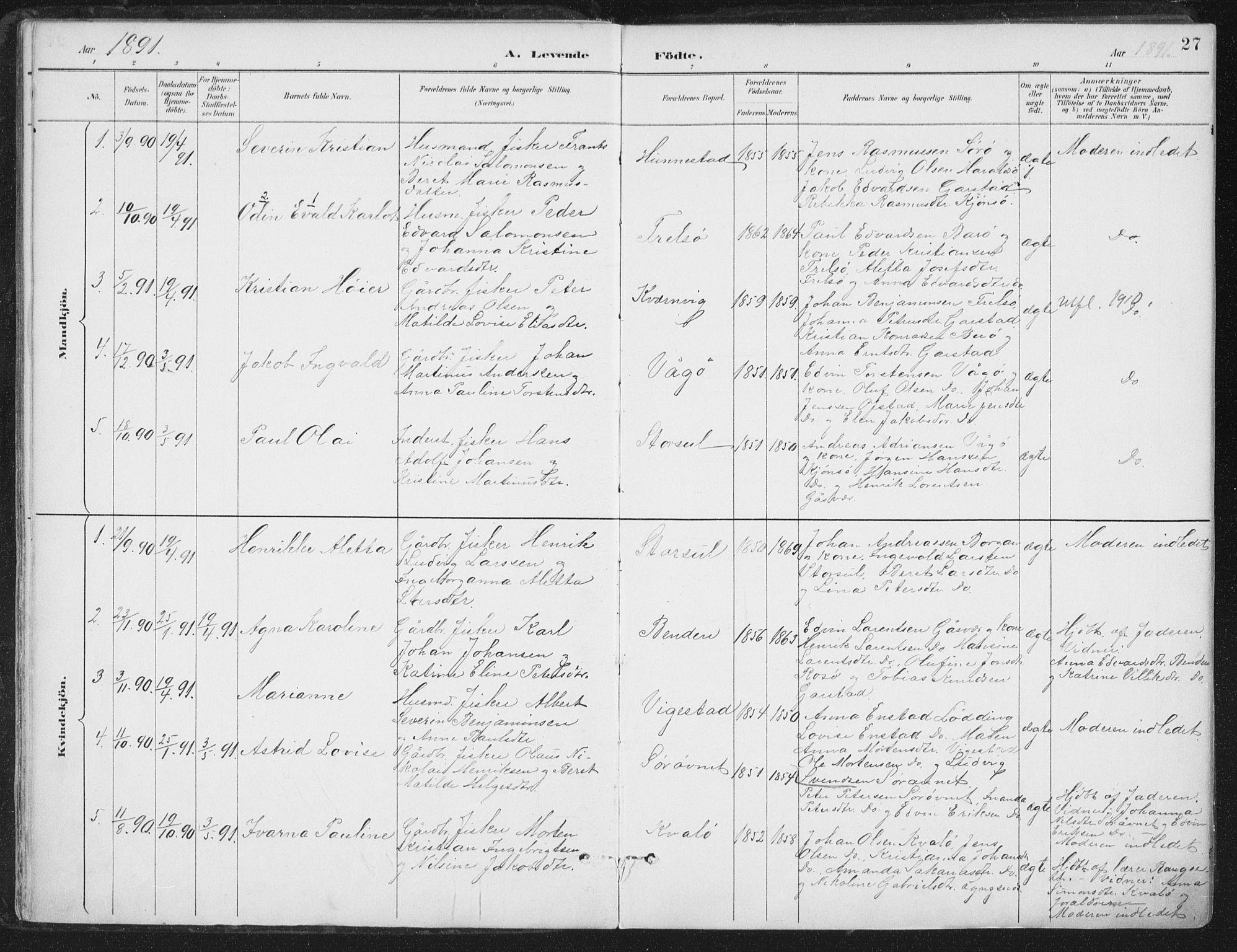 SAT, Ministerialprotokoller, klokkerbøker og fødselsregistre - Nord-Trøndelag, 786/L0687: Ministerialbok nr. 786A03, 1888-1898, s. 27