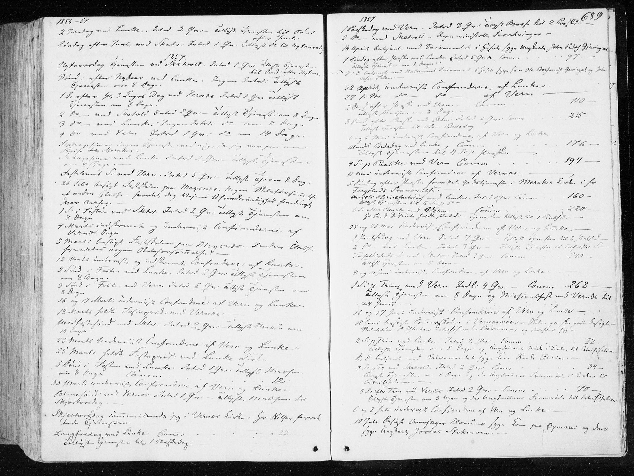 SAT, Ministerialprotokoller, klokkerbøker og fødselsregistre - Nord-Trøndelag, 709/L0074: Ministerialbok nr. 709A14, 1845-1858, s. 689