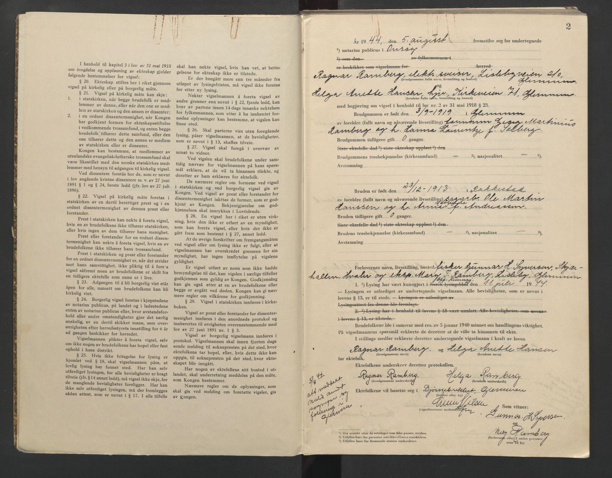 SAO, Onsøy sorenskriveri, L/La/L0005: Vigselsbok, 1944-1946, s. 2