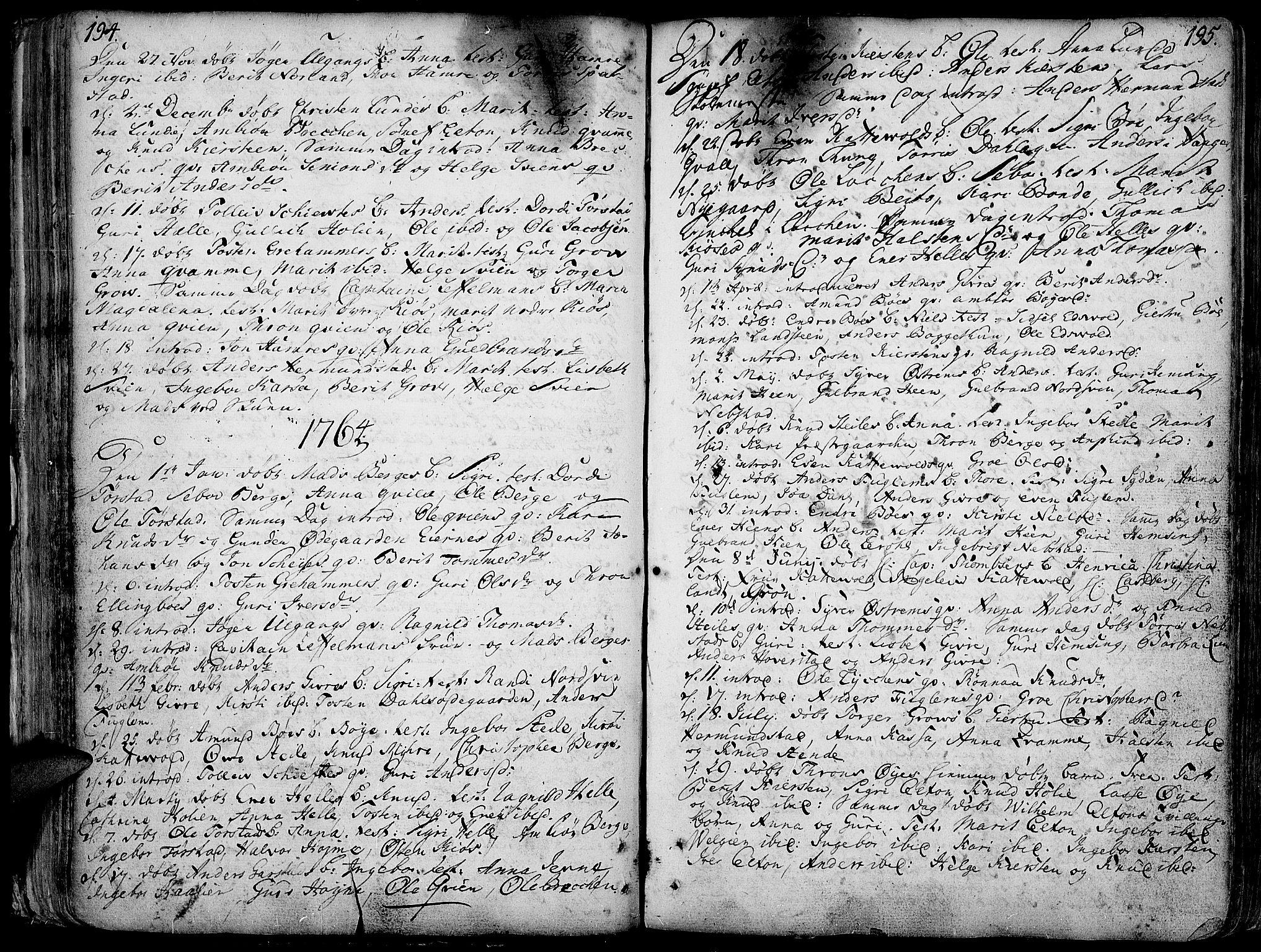 SAH, Vang prestekontor, Valdres, Ministerialbok nr. 1, 1730-1796, s. 194-195