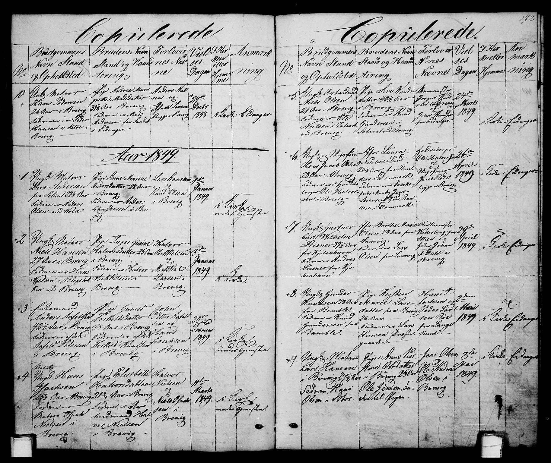 SAKO, Brevik kirkebøker, G/Ga/L0002: Klokkerbok nr. 2, 1846-1865, s. 172