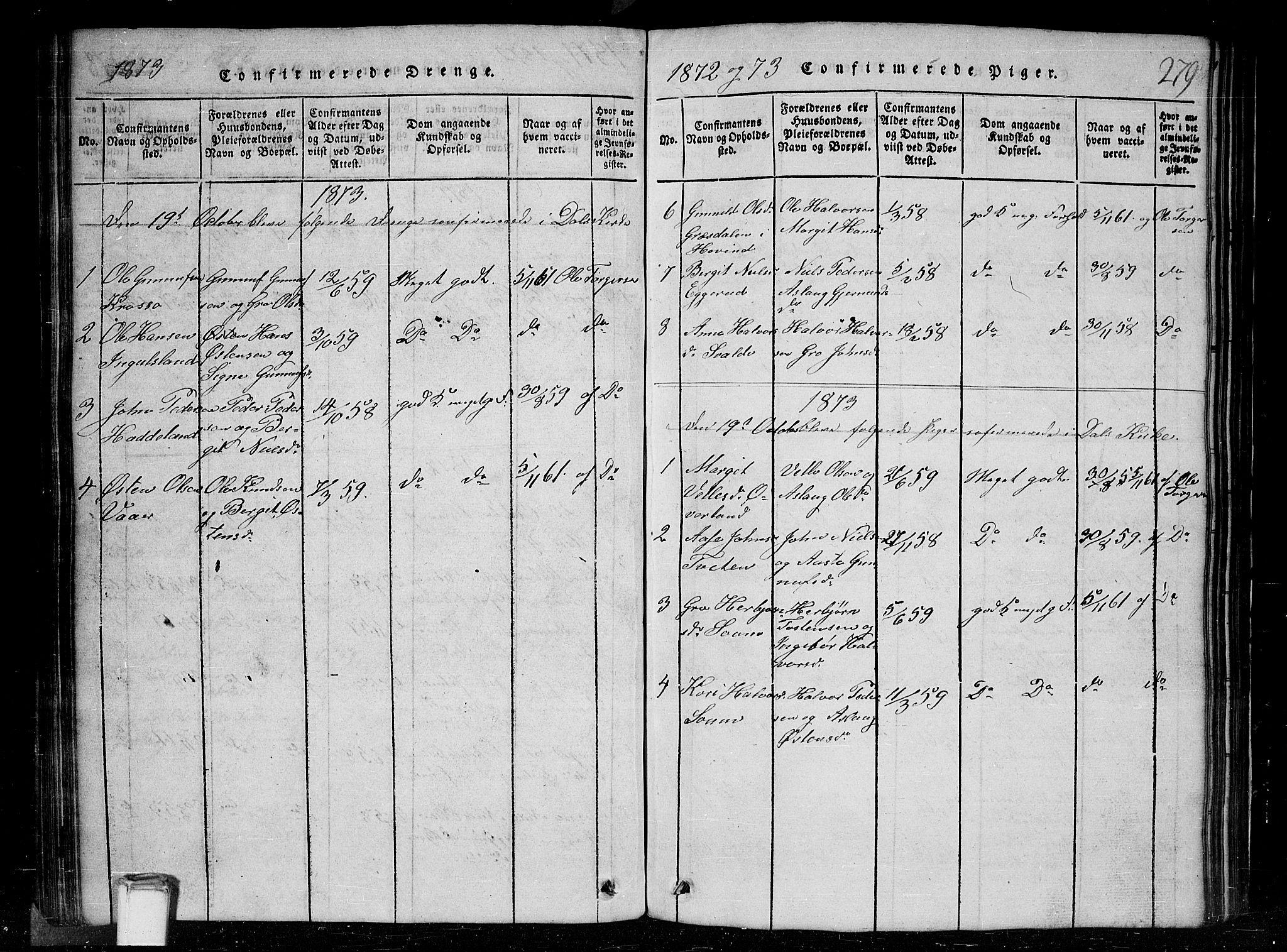 SAKO, Tinn kirkebøker, G/Gc/L0001: Klokkerbok nr. III 1, 1815-1879, s. 279