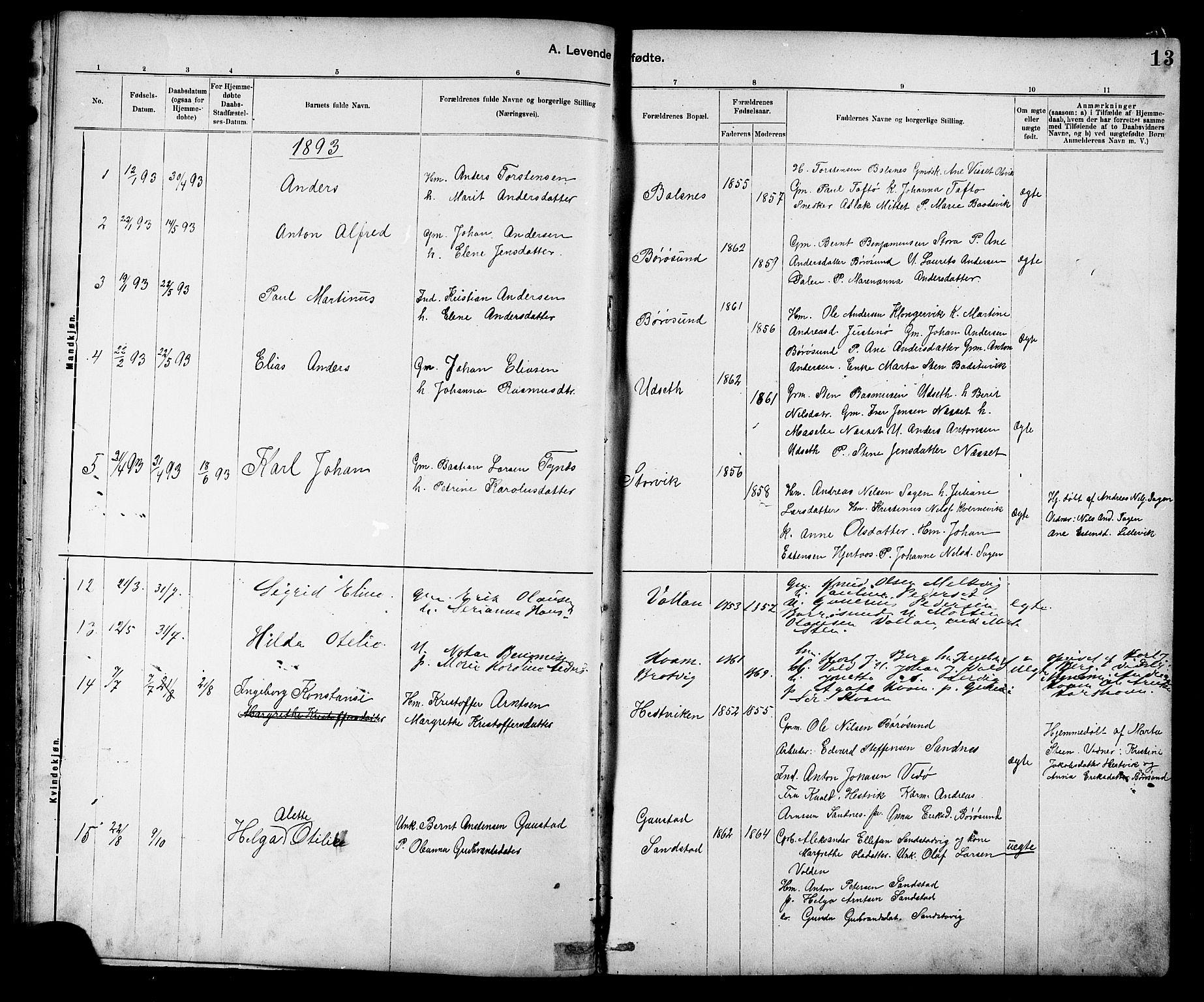 SAT, Ministerialprotokoller, klokkerbøker og fødselsregistre - Sør-Trøndelag, 639/L0573: Klokkerbok nr. 639C01, 1890-1905, s. 13
