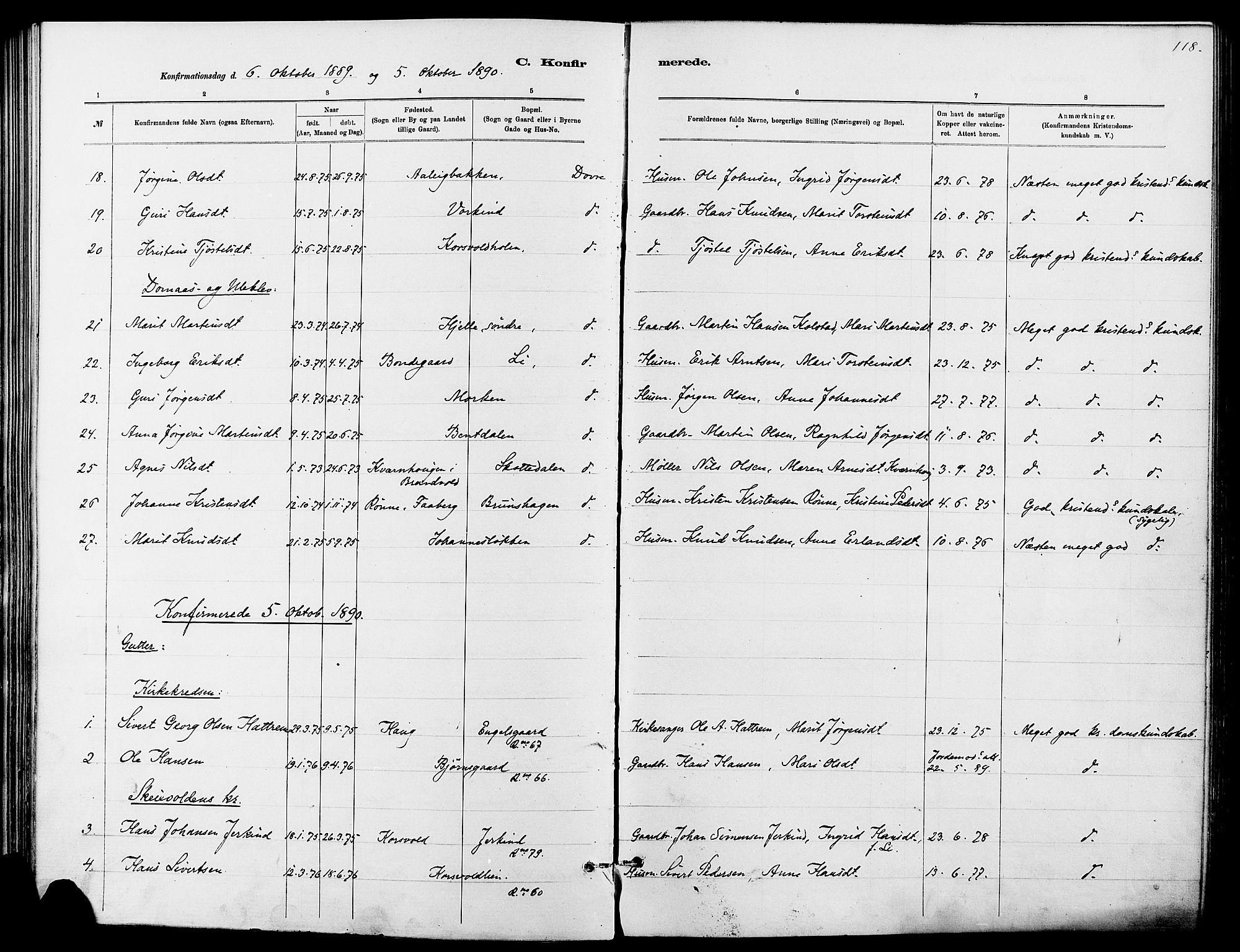 SAH, Dovre prestekontor, Ministerialbok nr. 2, 1879-1890, s. 118
