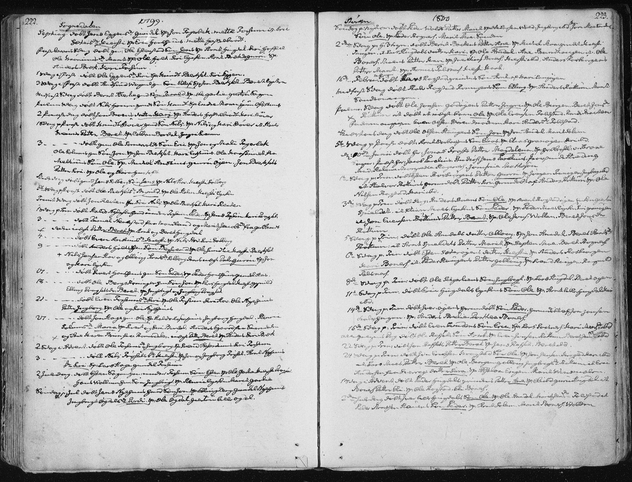 SAT, Ministerialprotokoller, klokkerbøker og fødselsregistre - Sør-Trøndelag, 687/L0992: Ministerialbok nr. 687A03 /1, 1788-1815, s. 222-223