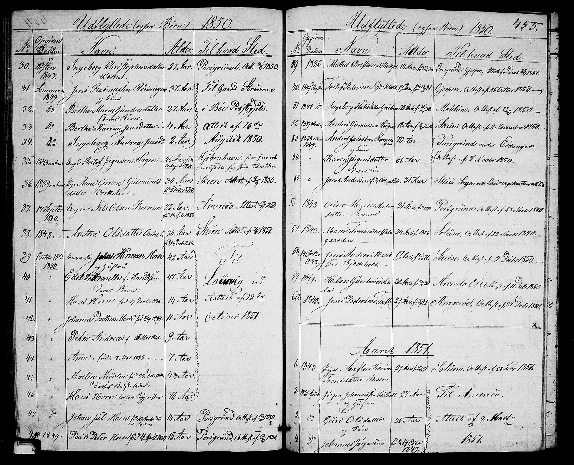 SAKO, Holla kirkebøker, G/Ga/L0003: Klokkerbok nr. I 3, 1849-1866, s. 455