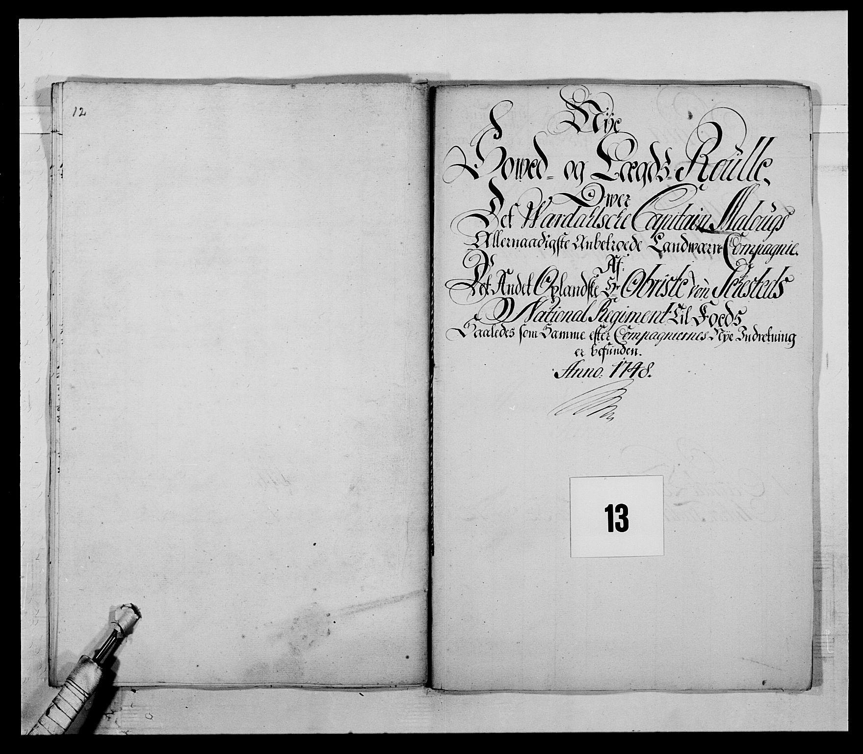RA, Kommanderende general (KG I) med Det norske krigsdirektorium, E/Ea/L0505: 2. Opplandske regiment, 1748, s. 355