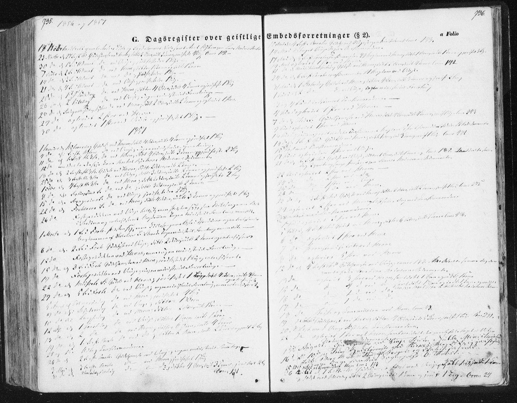 SAT, Ministerialprotokoller, klokkerbøker og fødselsregistre - Sør-Trøndelag, 630/L0494: Ministerialbok nr. 630A07, 1852-1868, s. 735-736