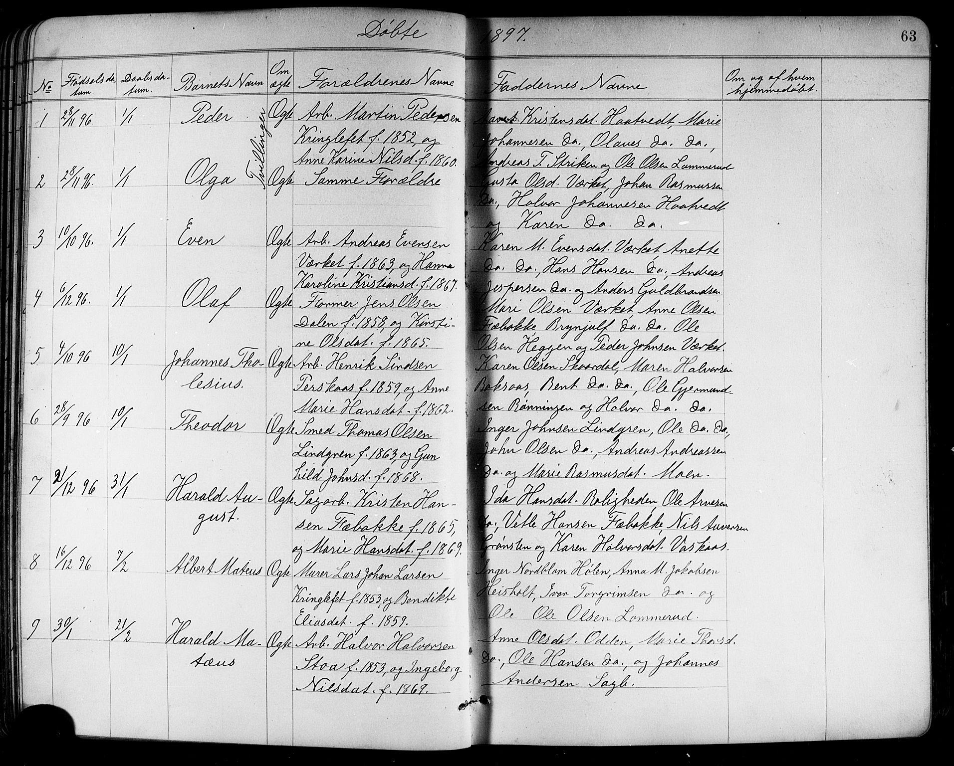 SAKO, Holla kirkebøker, G/Ga/L0005: Klokkerbok nr. I 5, 1891-1917, s. 63