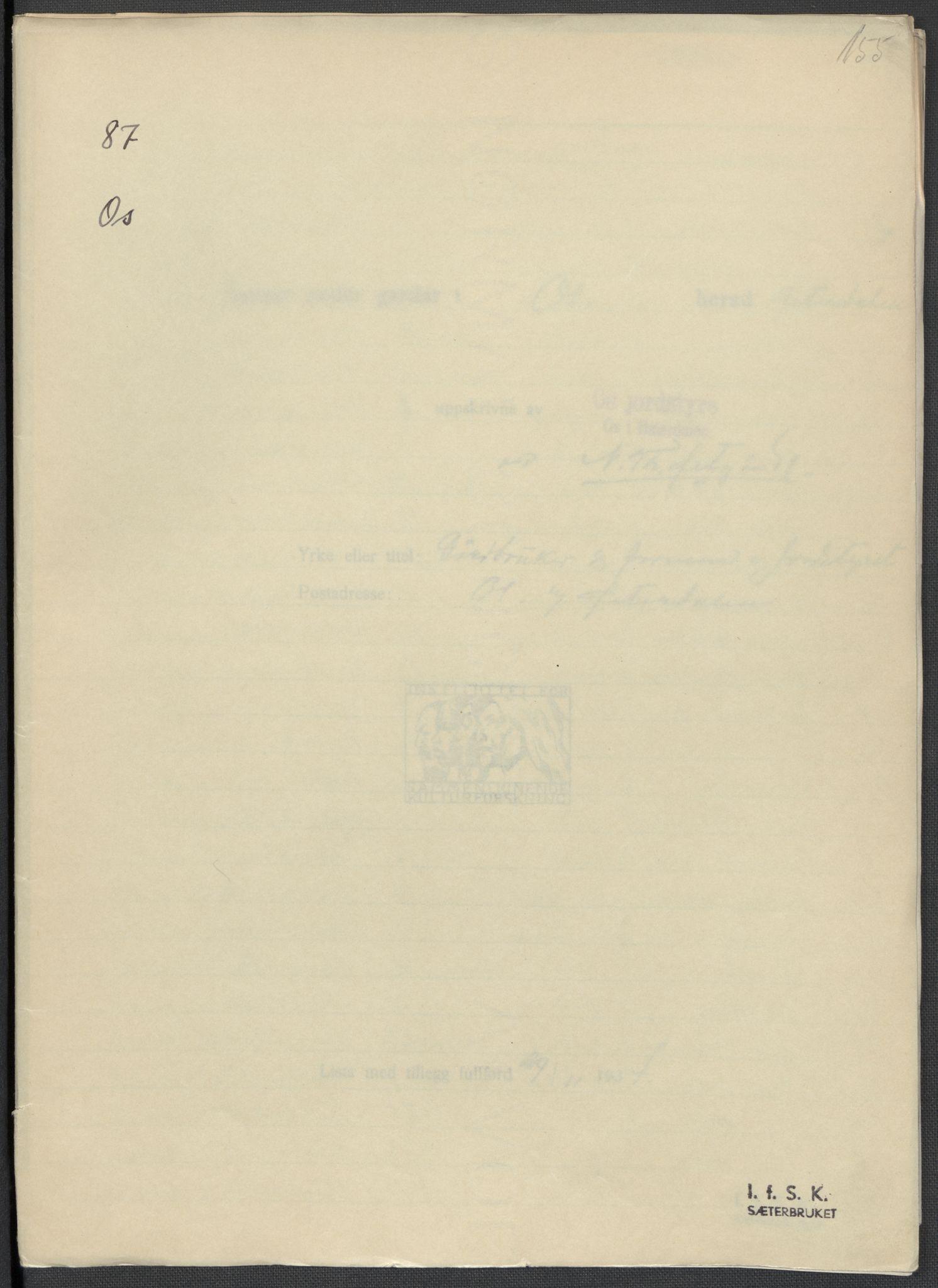 RA, Instituttet for sammenlignende kulturforskning, F/Fc/L0003: Eske B3:, 1933-1939, s. 155