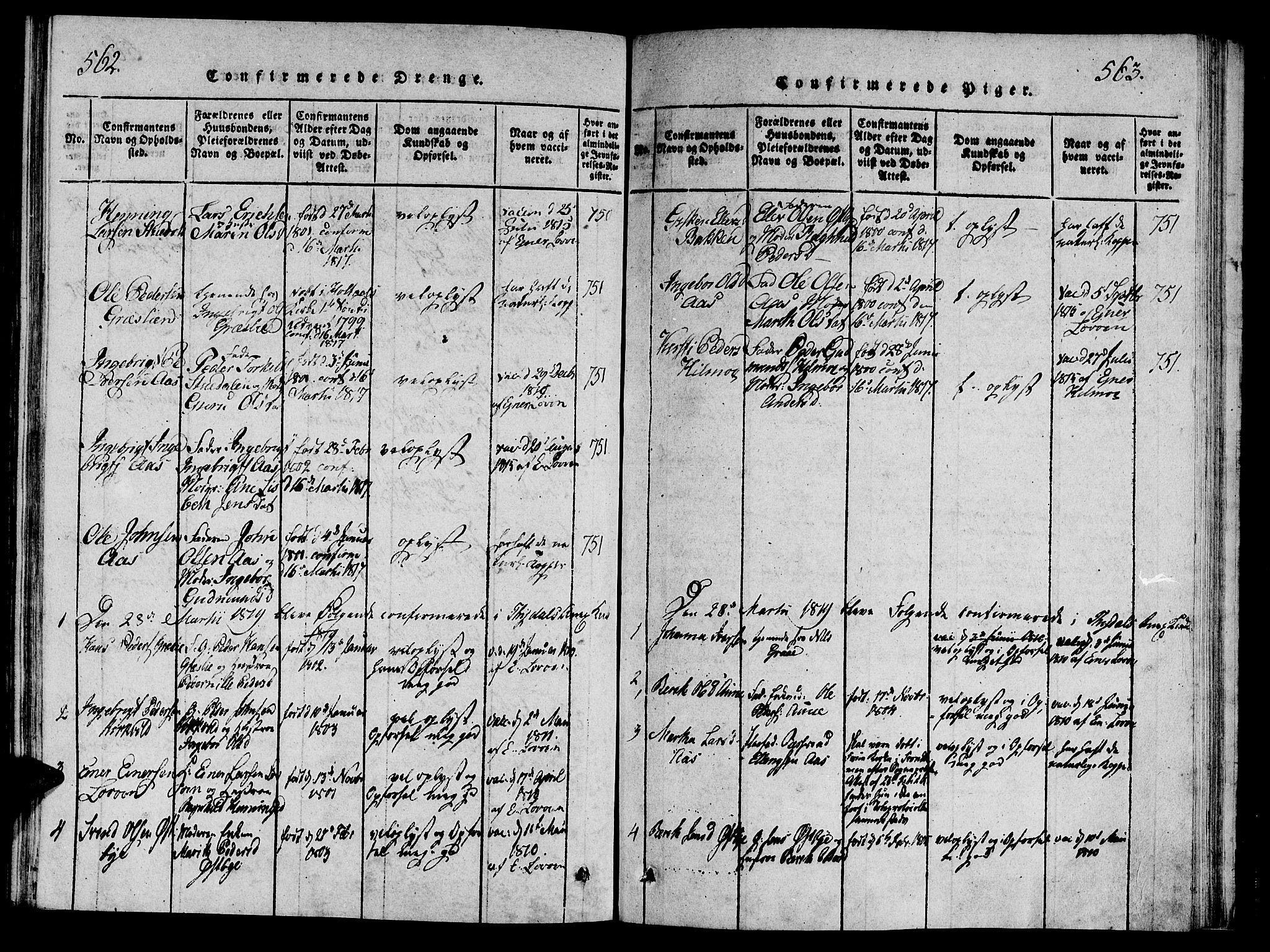SAT, Ministerialprotokoller, klokkerbøker og fødselsregistre - Sør-Trøndelag, 695/L1142: Ministerialbok nr. 695A04 /2, 1816-1824, s. 562-563