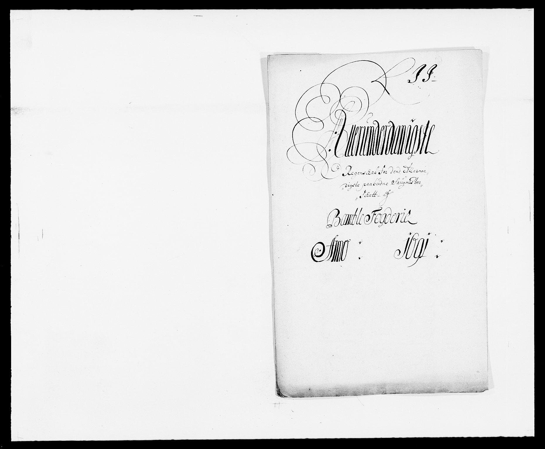 RA, Rentekammeret inntil 1814, Reviderte regnskaper, Fogderegnskap, R34/L2051: Fogderegnskap Bamble, 1688-1691, s. 191
