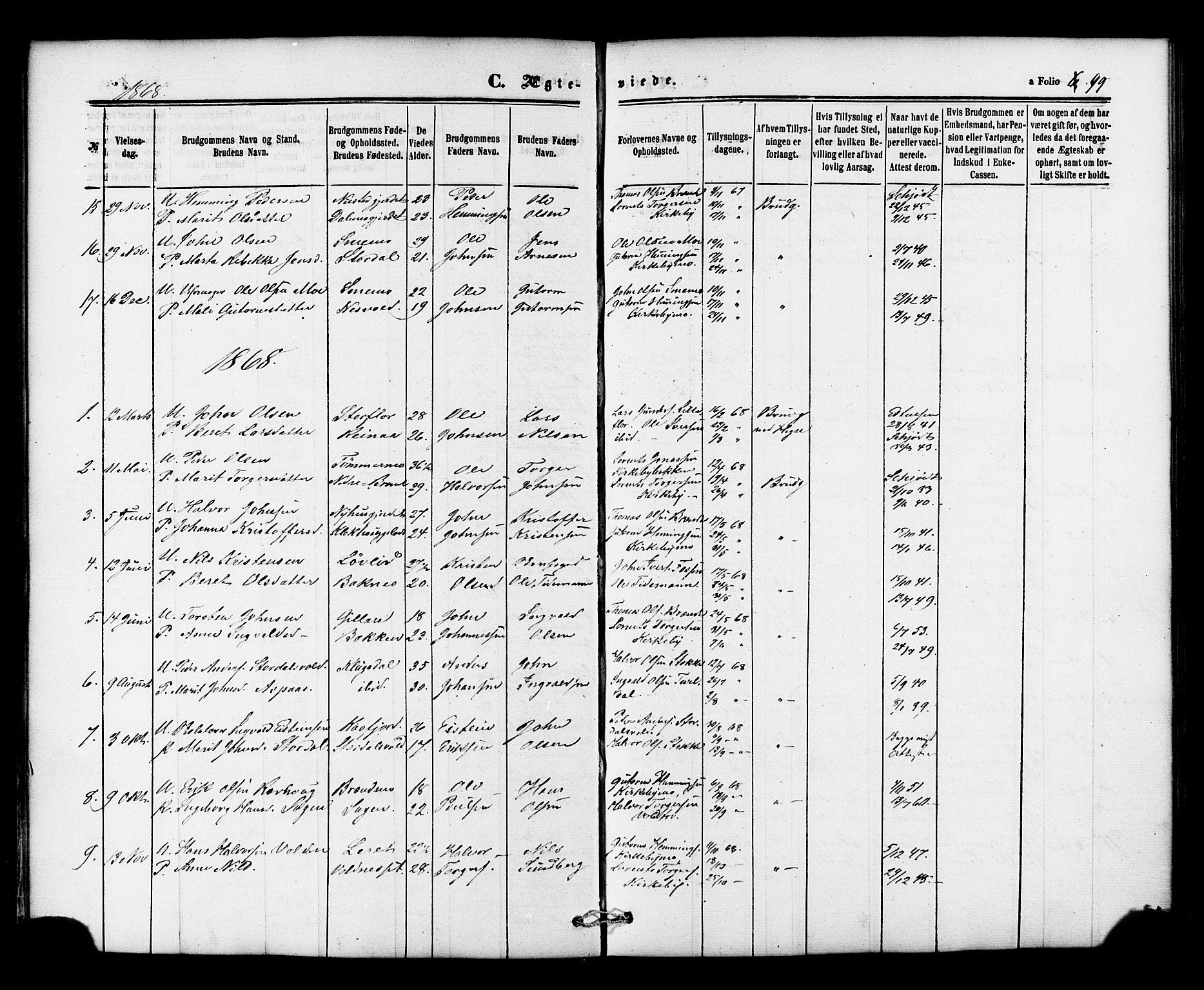 SAT, Ministerialprotokoller, klokkerbøker og fødselsregistre - Nord-Trøndelag, 706/L0041: Ministerialbok nr. 706A02, 1862-1877, s. 99