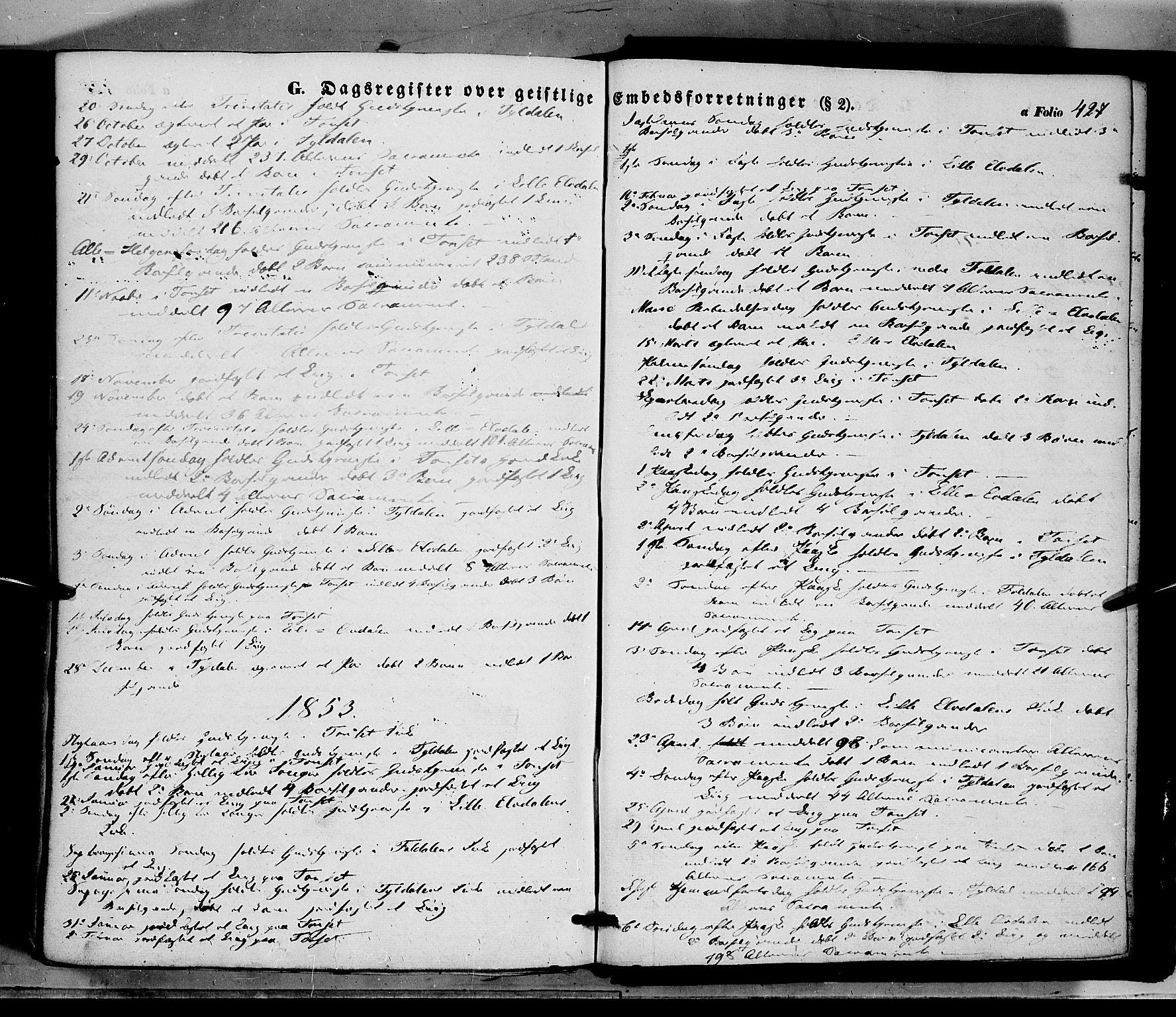 SAH, Tynset prestekontor, Ministerialbok nr. 20, 1848-1862, s. 427
