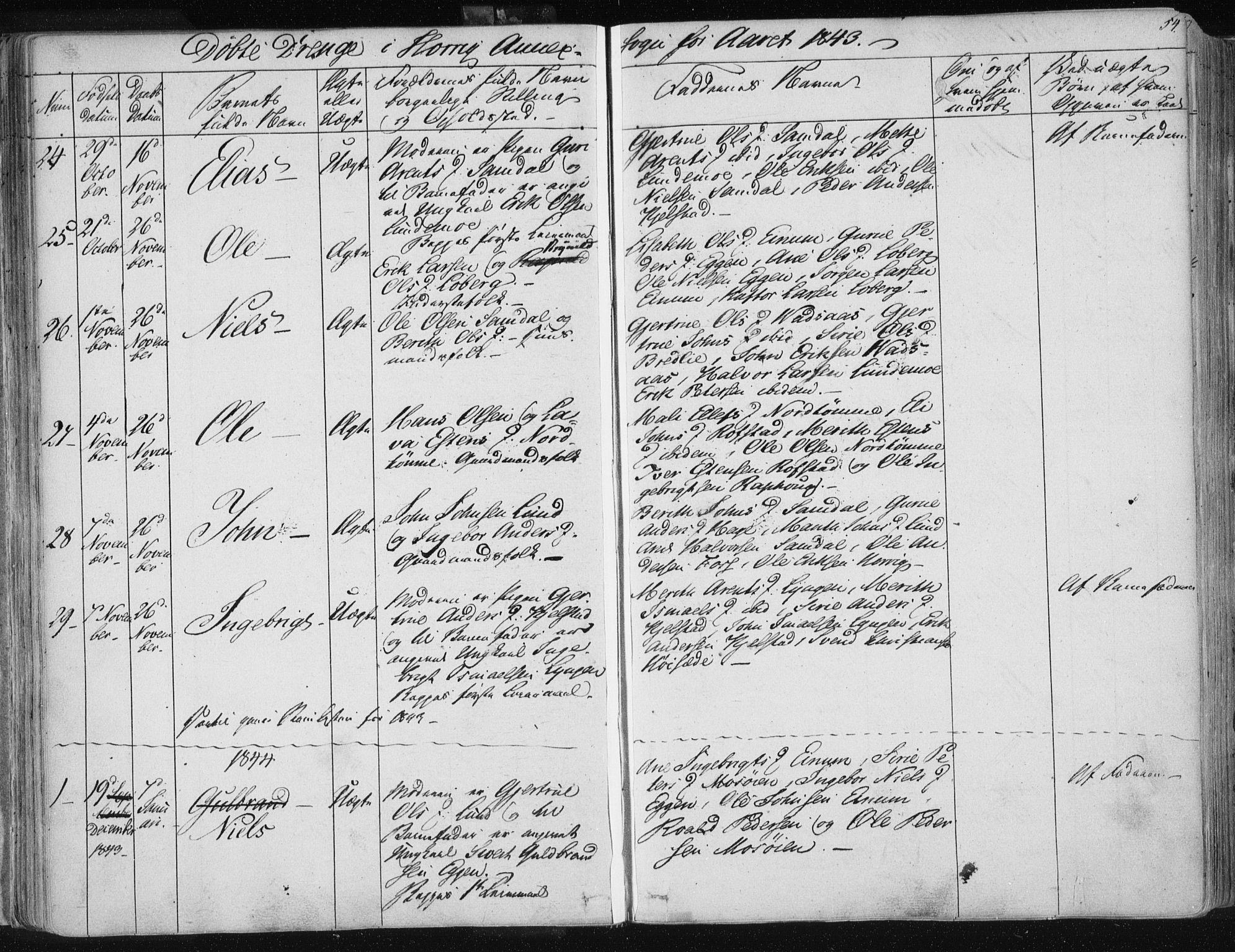 SAT, Ministerialprotokoller, klokkerbøker og fødselsregistre - Sør-Trøndelag, 687/L0998: Ministerialbok nr. 687A05 /2, 1843-1849, s. 54