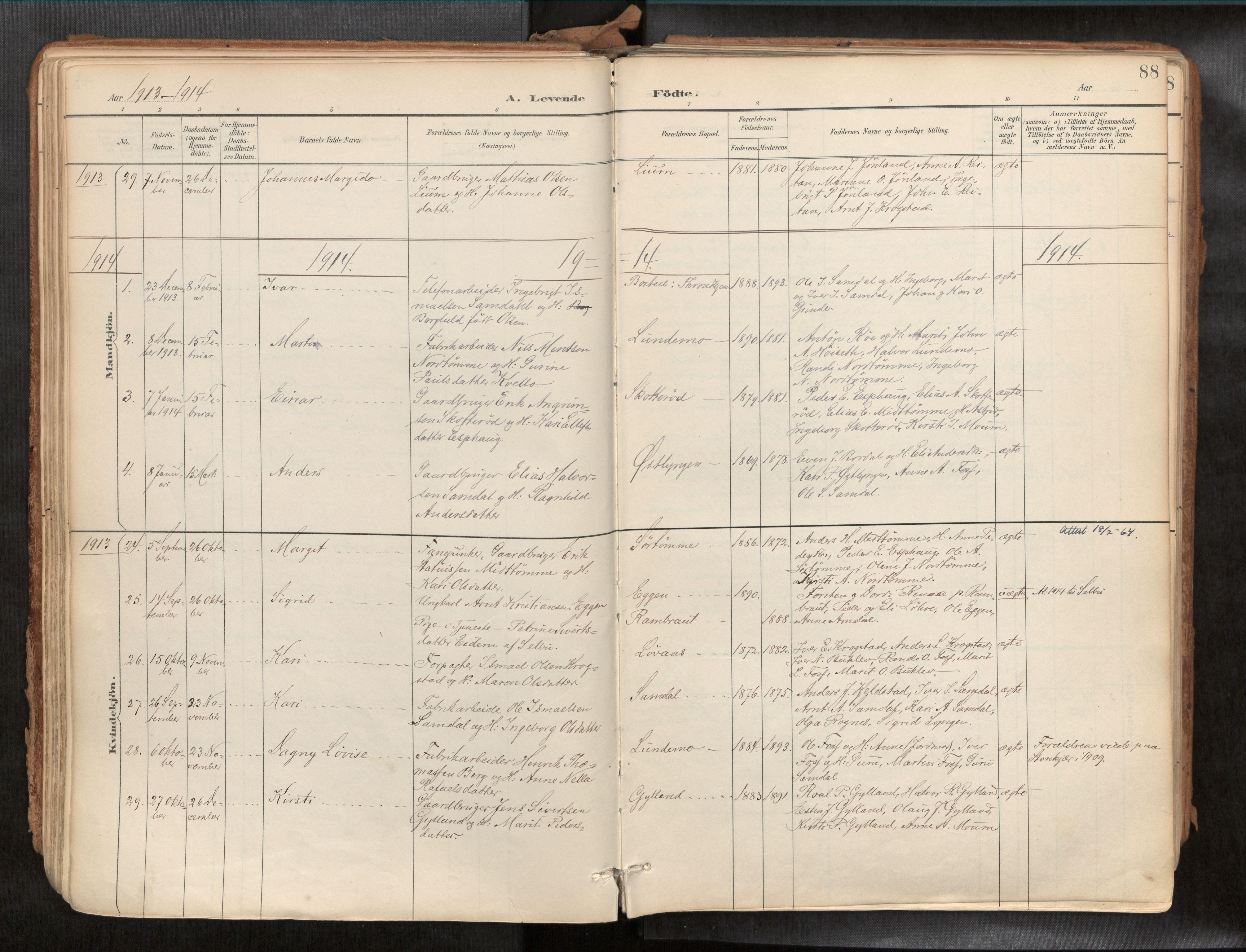 SAT, Ministerialprotokoller, klokkerbøker og fødselsregistre - Sør-Trøndelag, 692/L1105b: Ministerialbok nr. 692A06, 1891-1934, s. 88