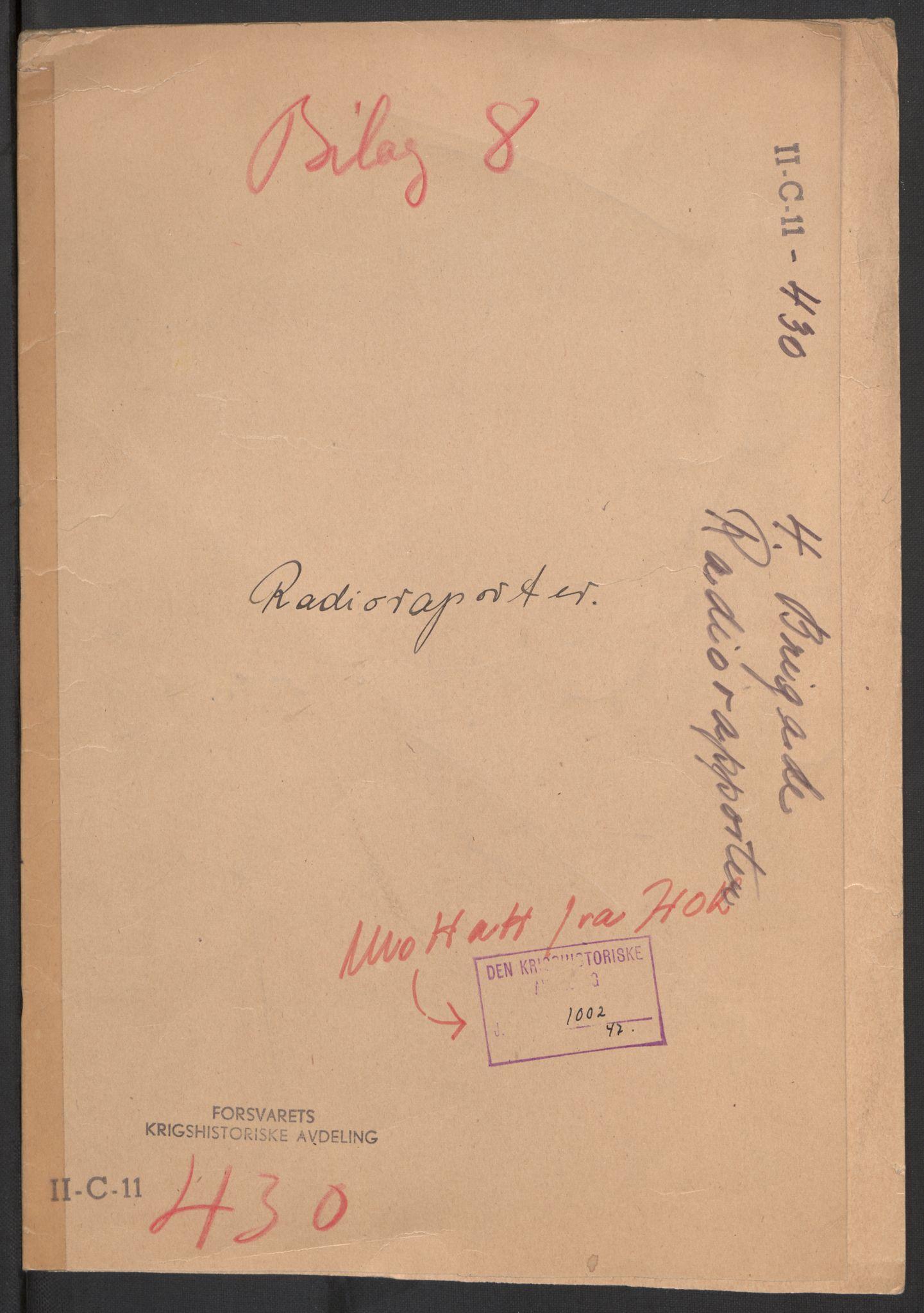 RA, Forsvaret, Forsvarets krigshistoriske avdeling, Y/Yb/L0104: II-C-11-430  -  4. Divisjon., 1940, s. 561