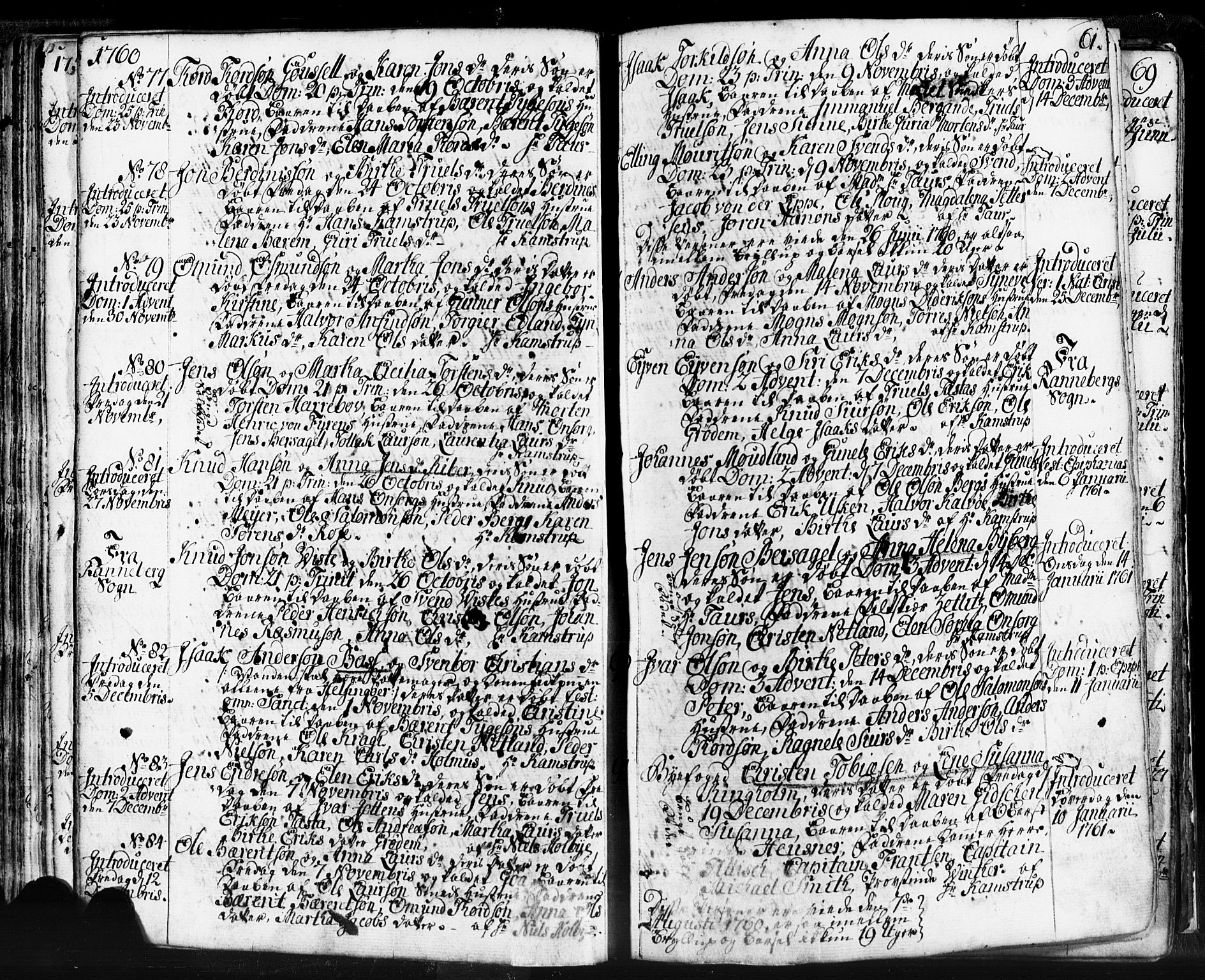 SAST, Domkirken sokneprestkontor, 30/30BB/L0004: Klokkerbok nr. B 4, 1752-1790, s. 61