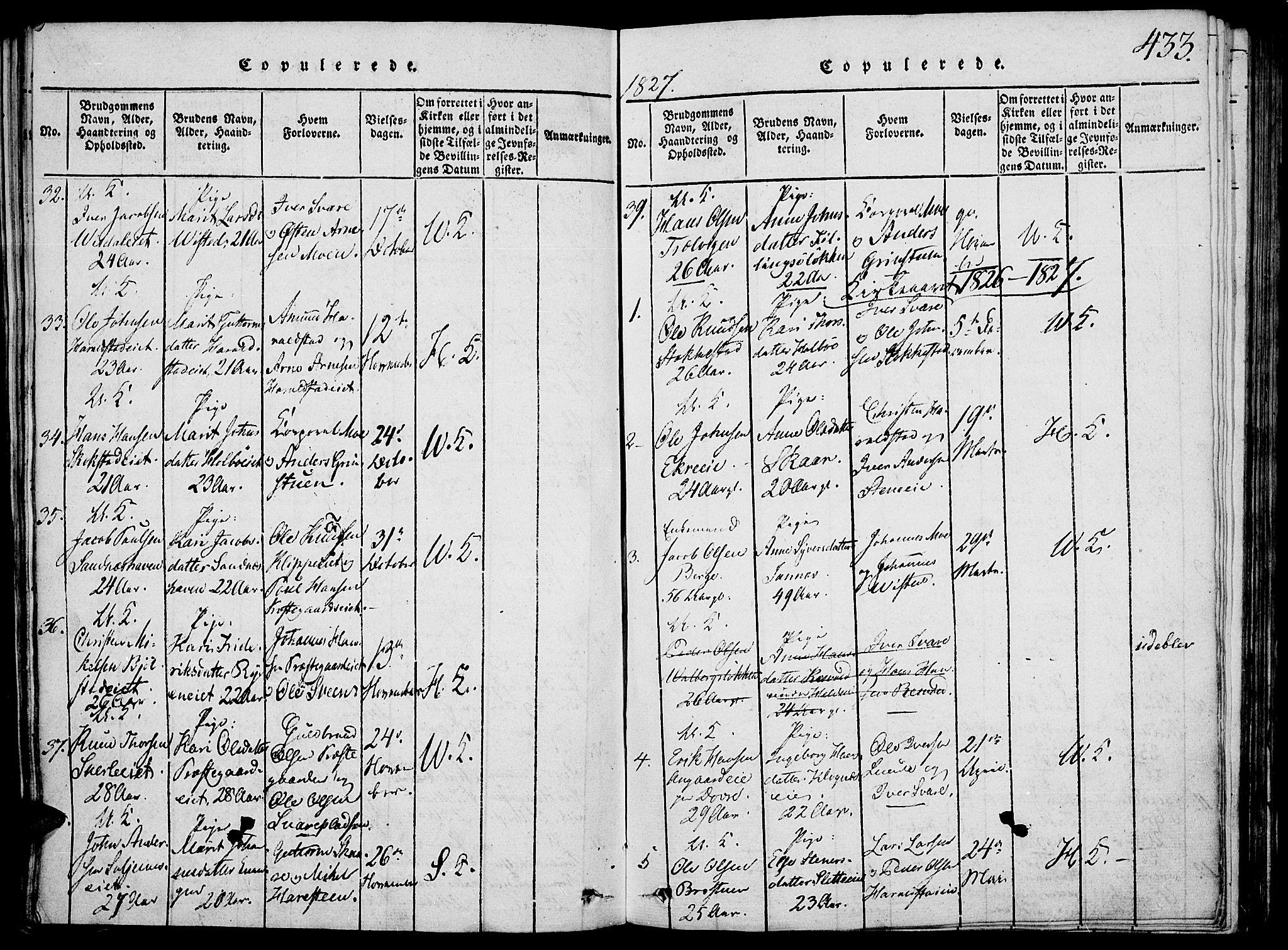 SAH, Vågå prestekontor, Klokkerbok nr. 1, 1815-1827, s. 432-433