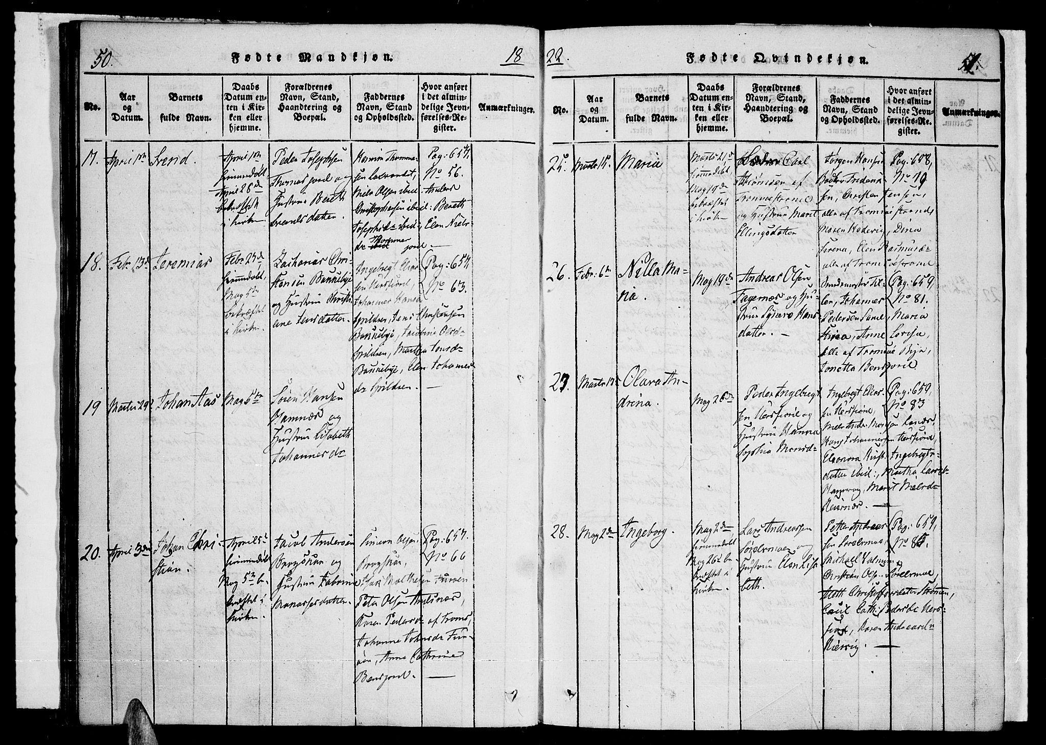 SATØ, Tromsø sokneprestkontor/stiftsprosti/domprosti, G/Ga/L0007kirke: Ministerialbok nr. 7, 1821-1828, s. 50-51
