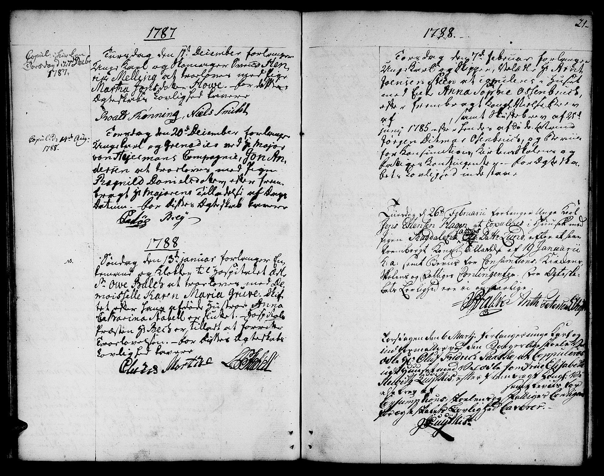 SAT, Ministerialprotokoller, klokkerbøker og fødselsregistre - Sør-Trøndelag, 601/L0041: Ministerialbok nr. 601A09, 1784-1801, s. 21