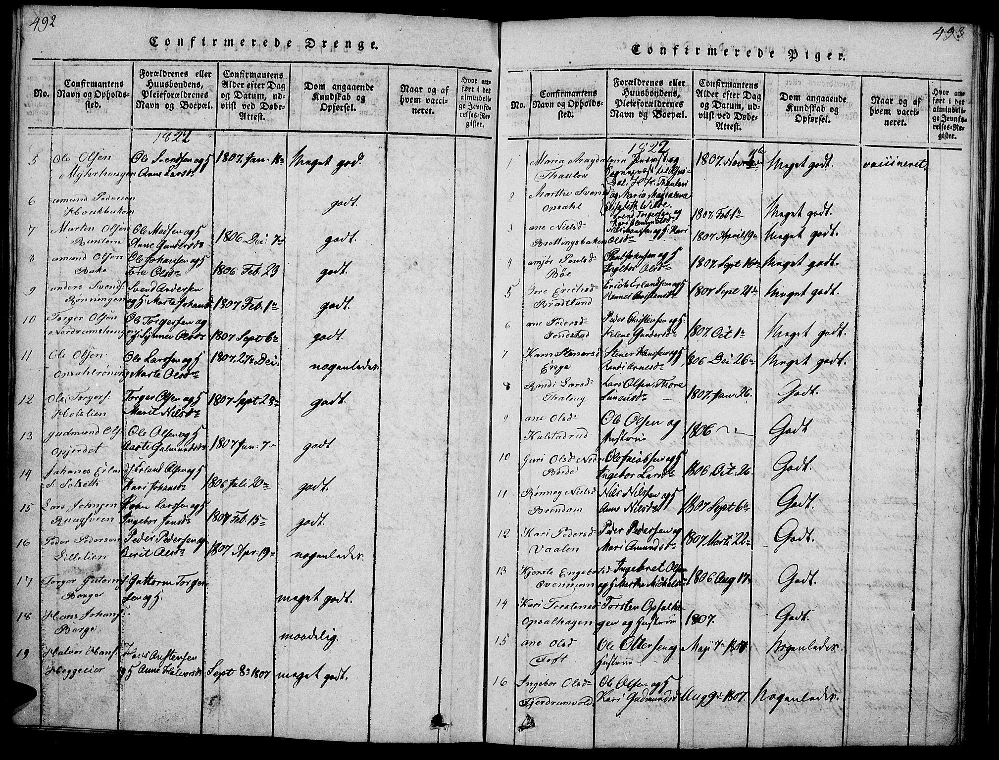 SAH, Gausdal prestekontor, Ministerialbok nr. 5, 1817-1829, s. 492-493