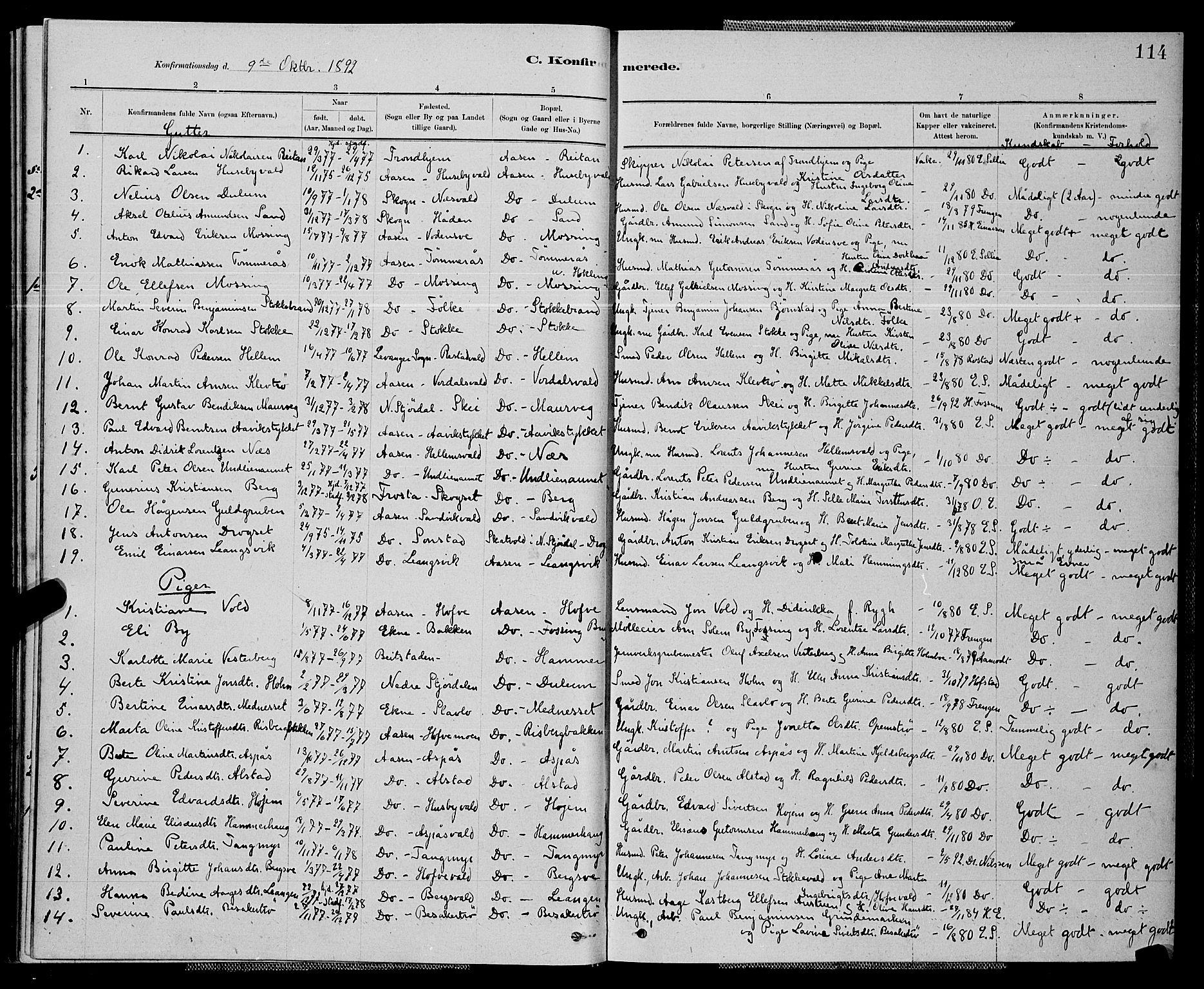 SAT, Ministerialprotokoller, klokkerbøker og fødselsregistre - Nord-Trøndelag, 714/L0134: Klokkerbok nr. 714C03, 1878-1898, s. 114