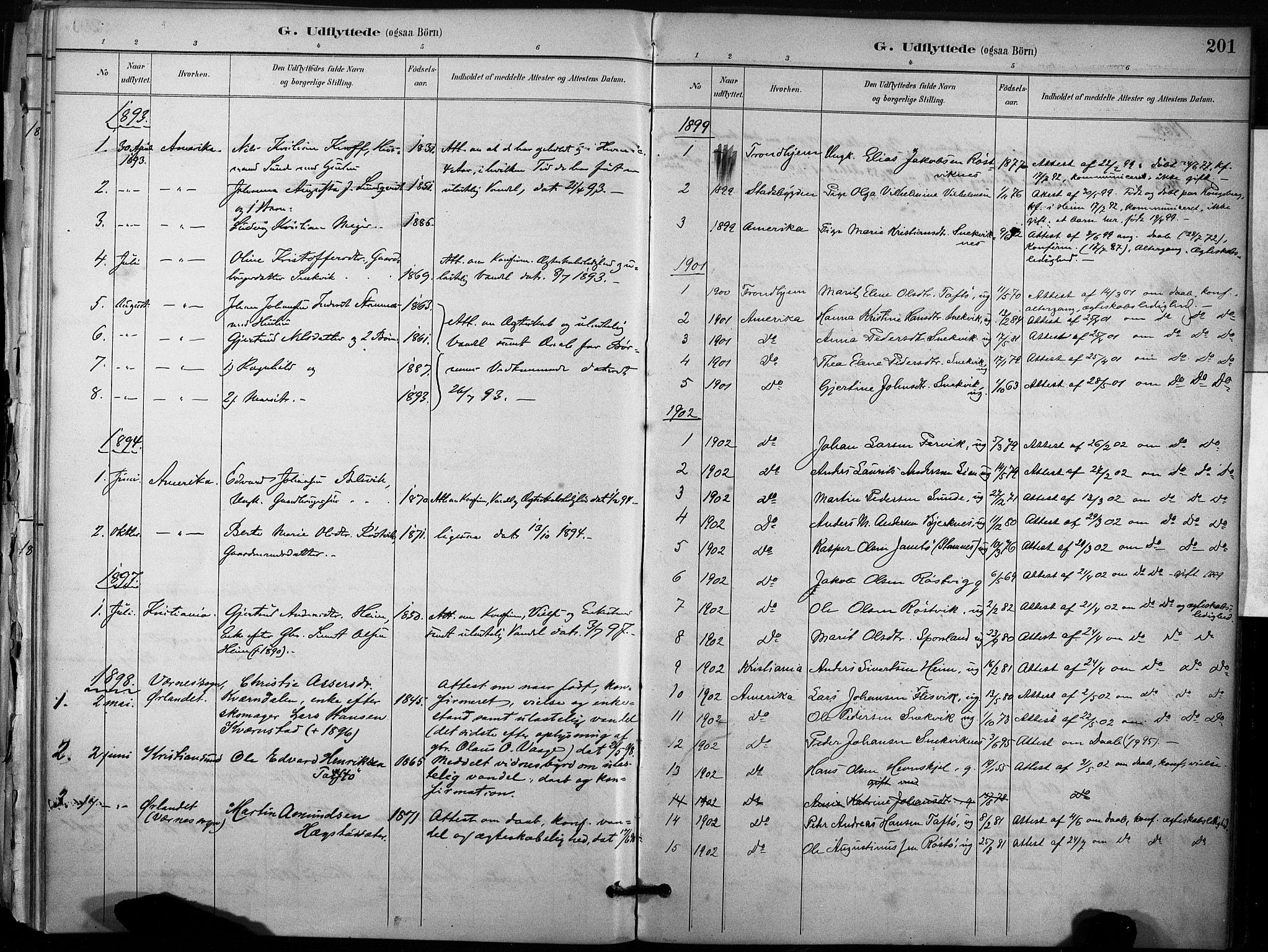 SAT, Ministerialprotokoller, klokkerbøker og fødselsregistre - Sør-Trøndelag, 633/L0518: Ministerialbok nr. 633A01, 1884-1906, s. 201
