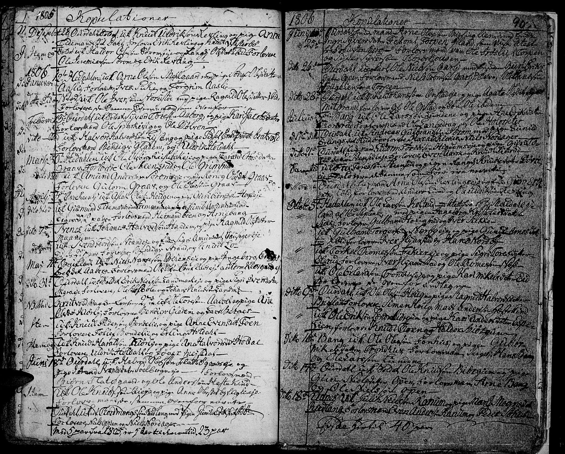 SAH, Aurdal prestekontor, Ministerialbok nr. 7, 1800-1808, s. 90