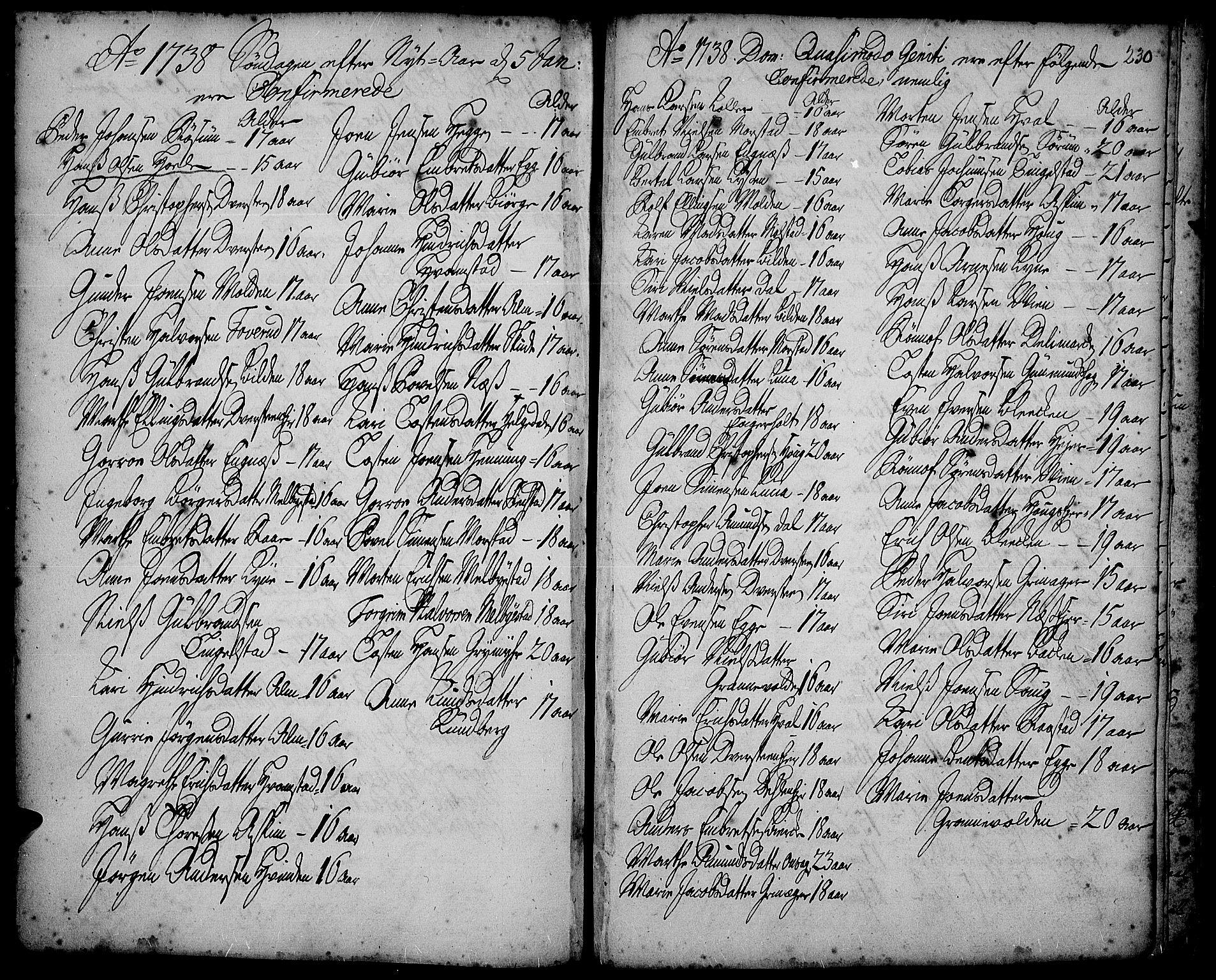 SAH, Gran prestekontor, Ministerialbok nr. 2, 1732-1744, s. 230