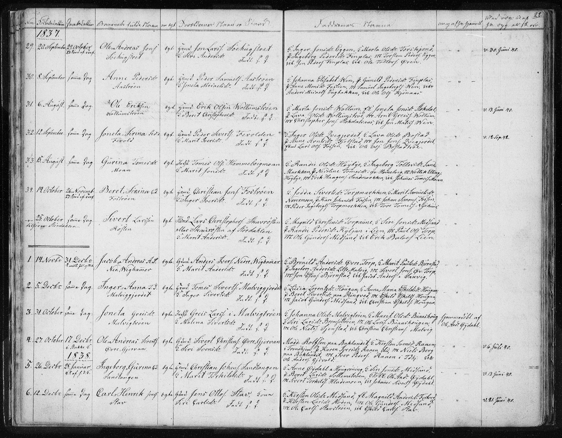 SAT, Ministerialprotokoller, klokkerbøker og fødselsregistre - Sør-Trøndelag, 616/L0405: Ministerialbok nr. 616A02, 1831-1842, s. 22