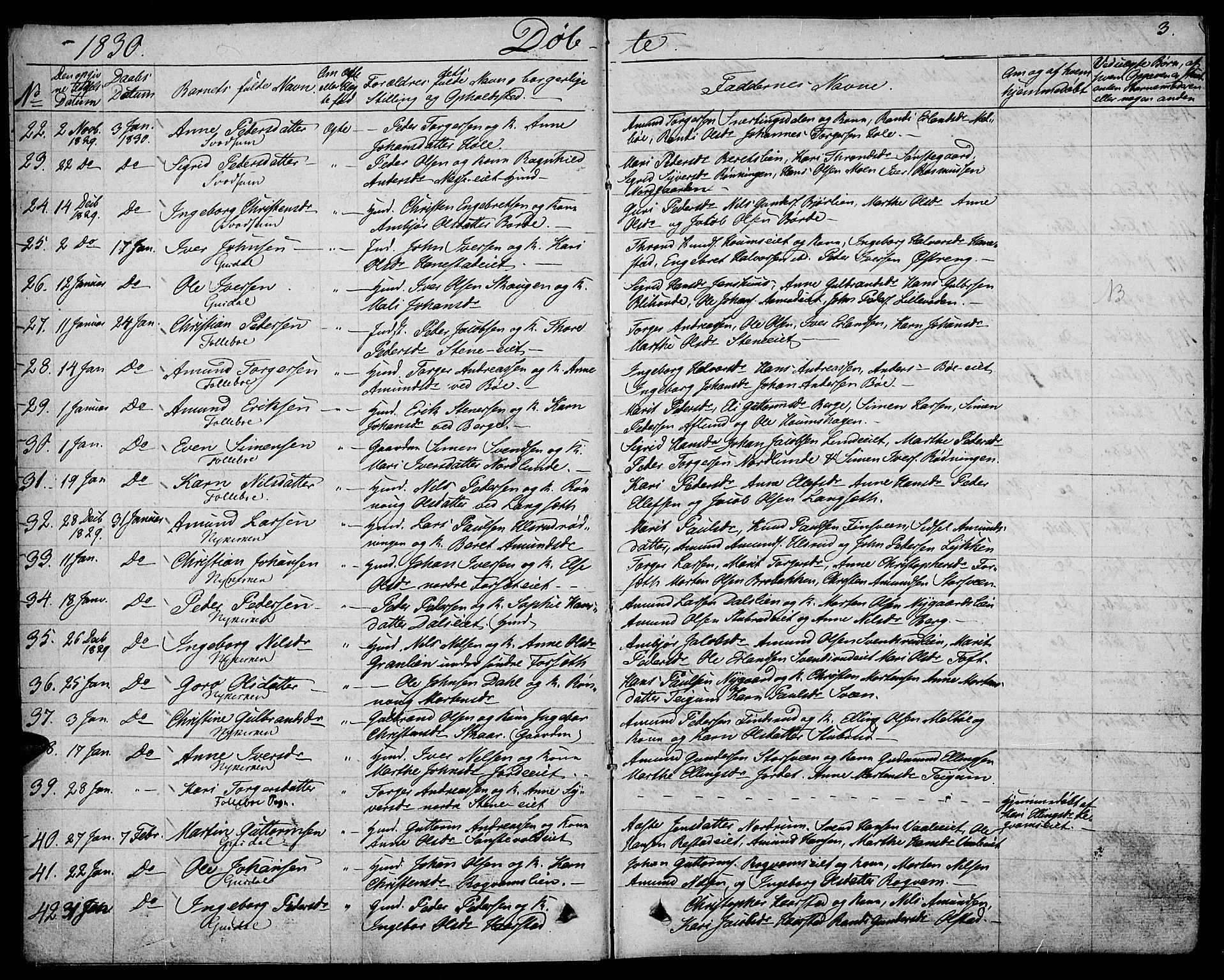 SAH, Gausdal prestekontor, Ministerialbok nr. 6, 1830-1839, s. 3