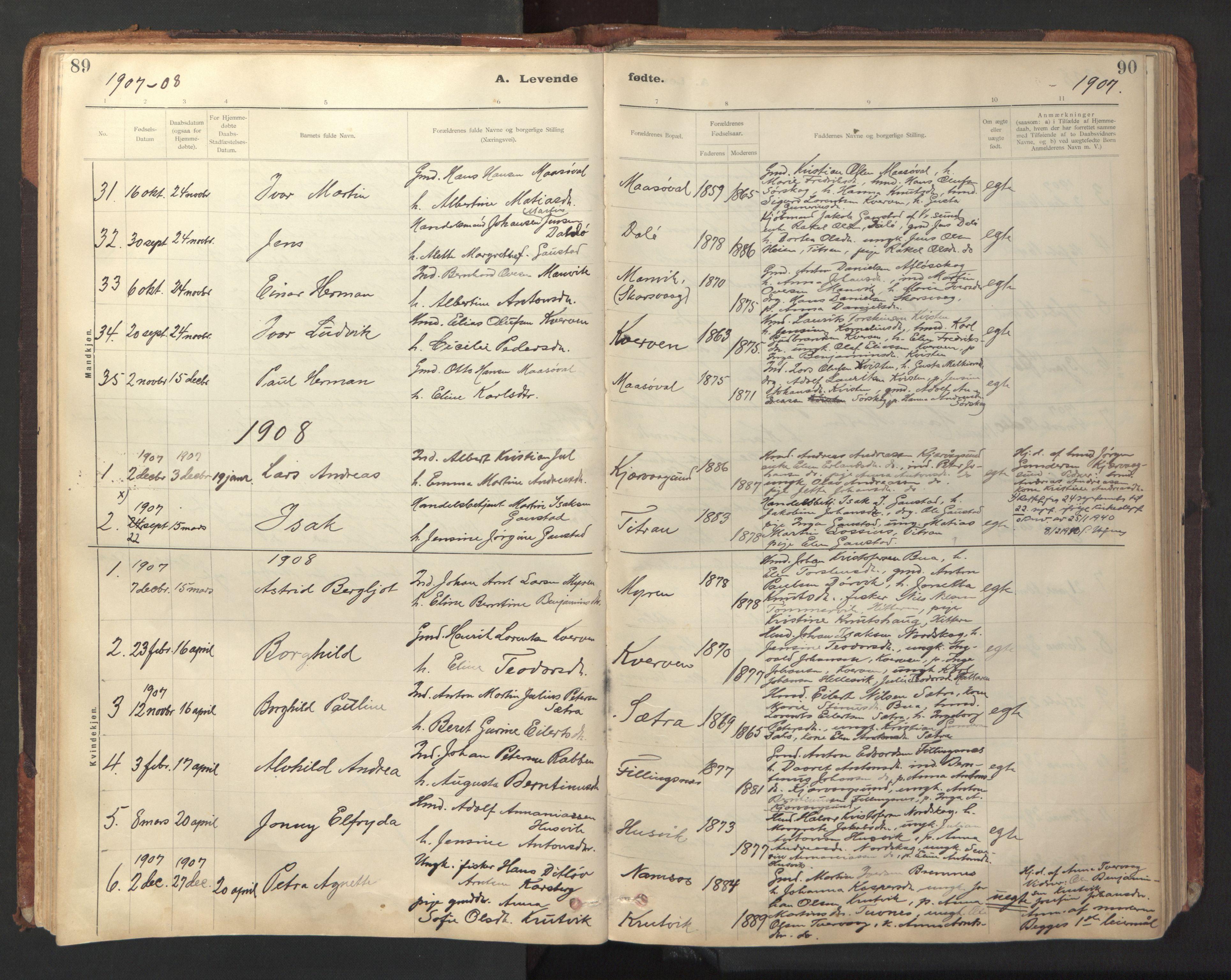 SAT, Ministerialprotokoller, klokkerbøker og fødselsregistre - Sør-Trøndelag, 641/L0596: Ministerialbok nr. 641A02, 1898-1915, s. 89-90