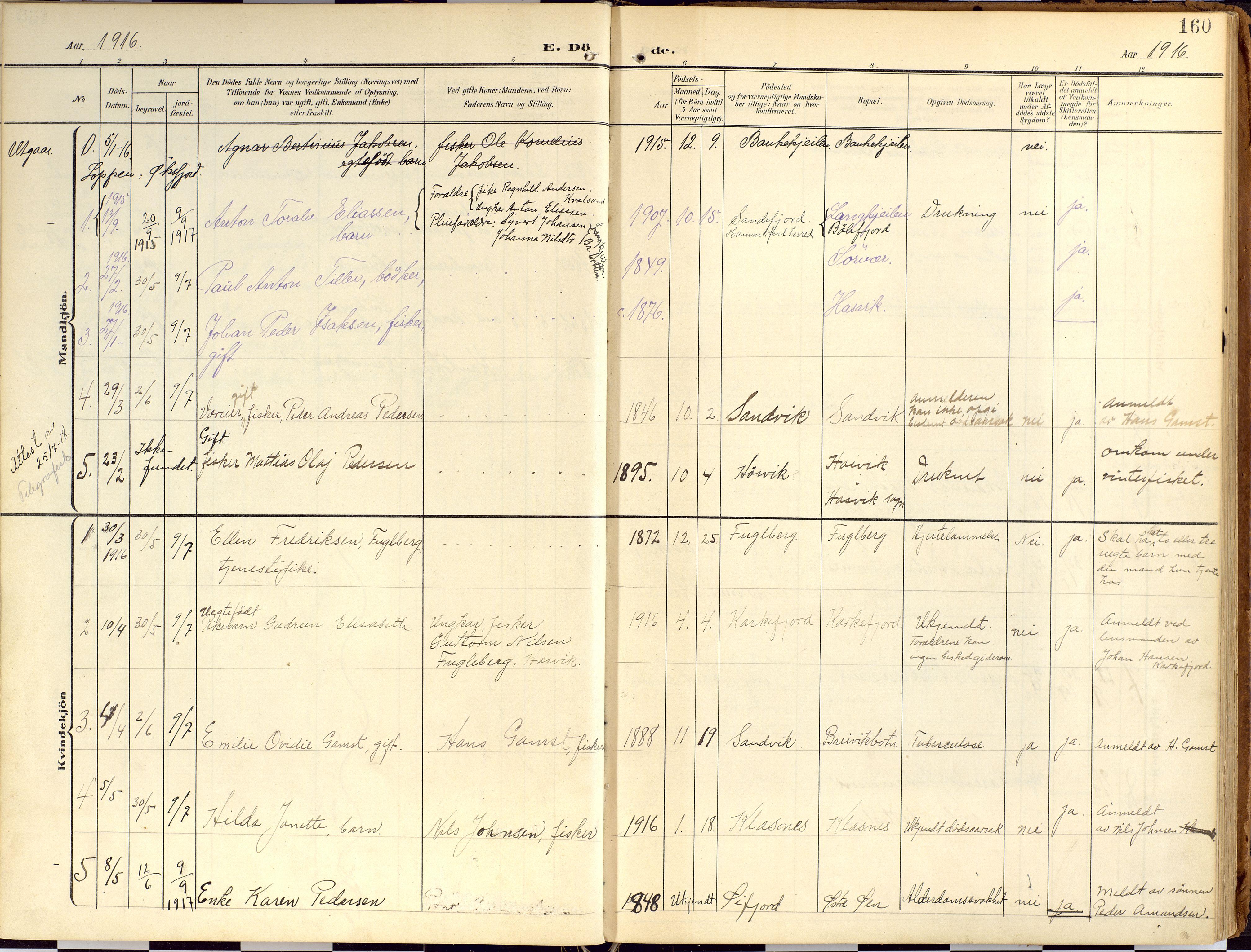 SATØ, Loppa sokneprestkontor, H/Ha/L0010kirke: Ministerialbok nr. 10, 1907-1922, s. 160