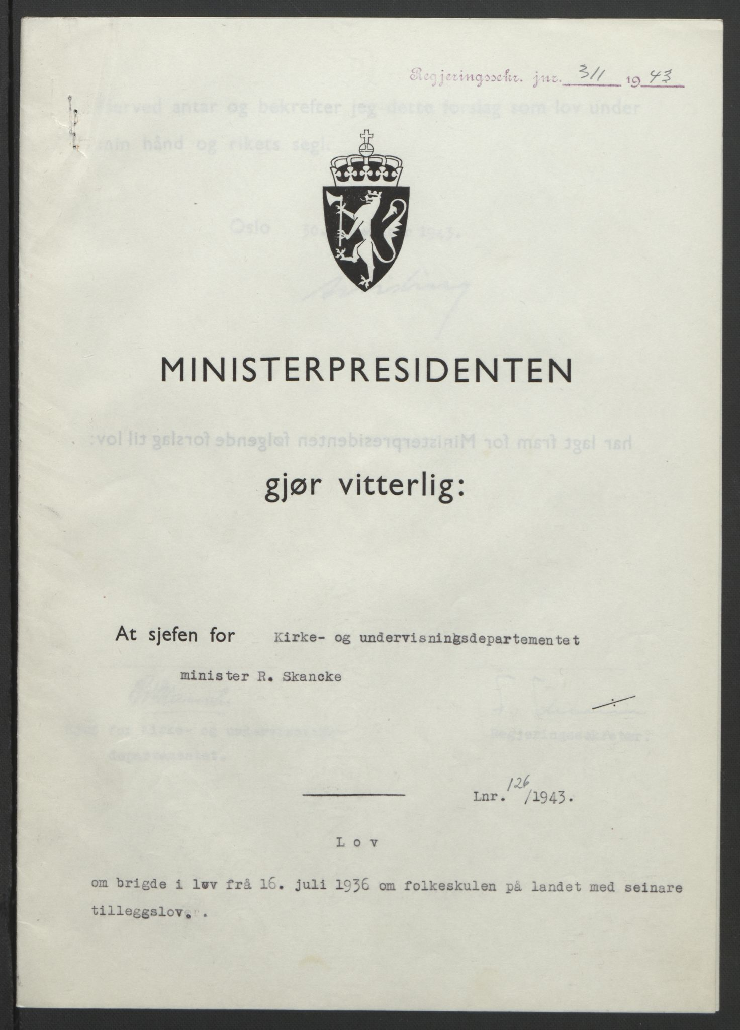 RA, NS-administrasjonen 1940-1945 (Statsrådsekretariatet, de kommisariske statsråder mm), D/Db/L0099: Lover, 1943, s. 584