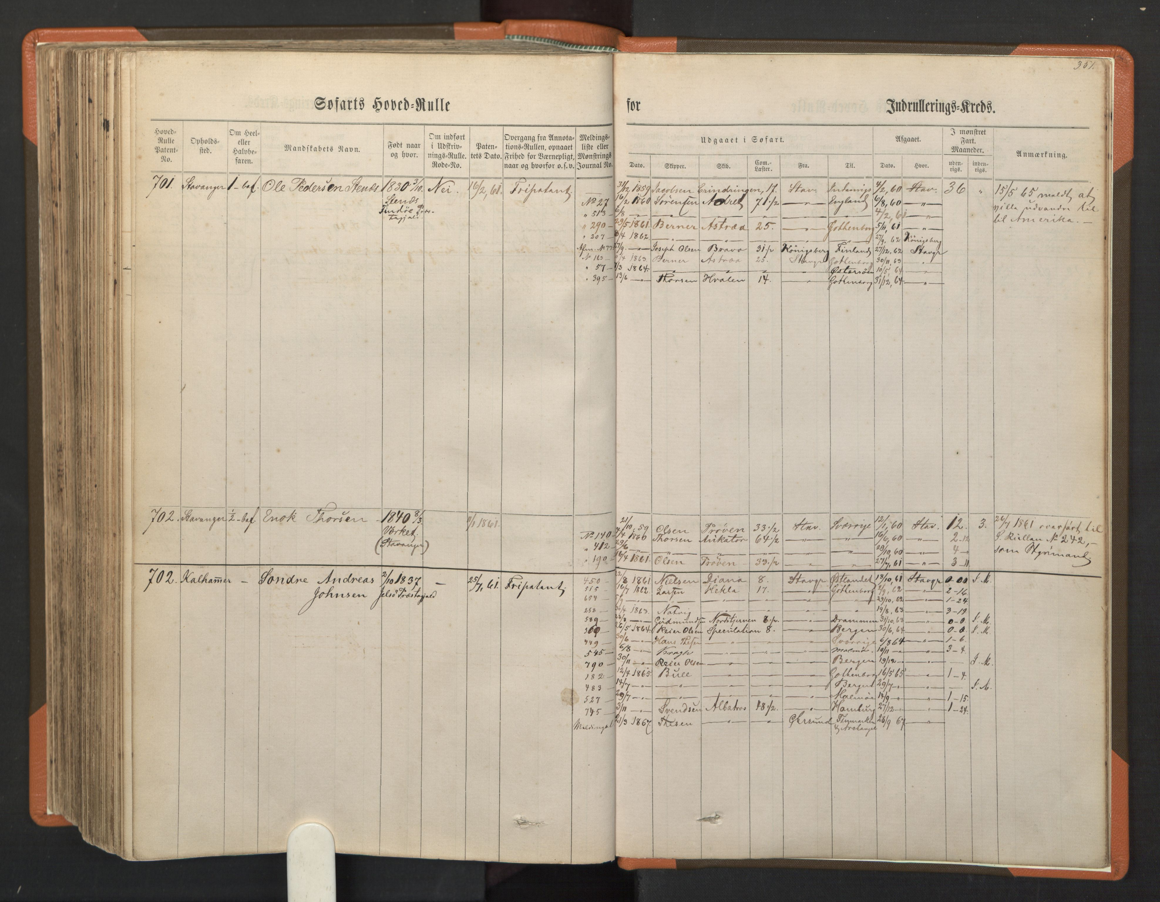SAST, Stavanger sjømannskontor, F/Fb/Fbb/L0001: Sjøfartshovedrulle, patentnr. 1-720 (del 1), 1860-1863, s. 355