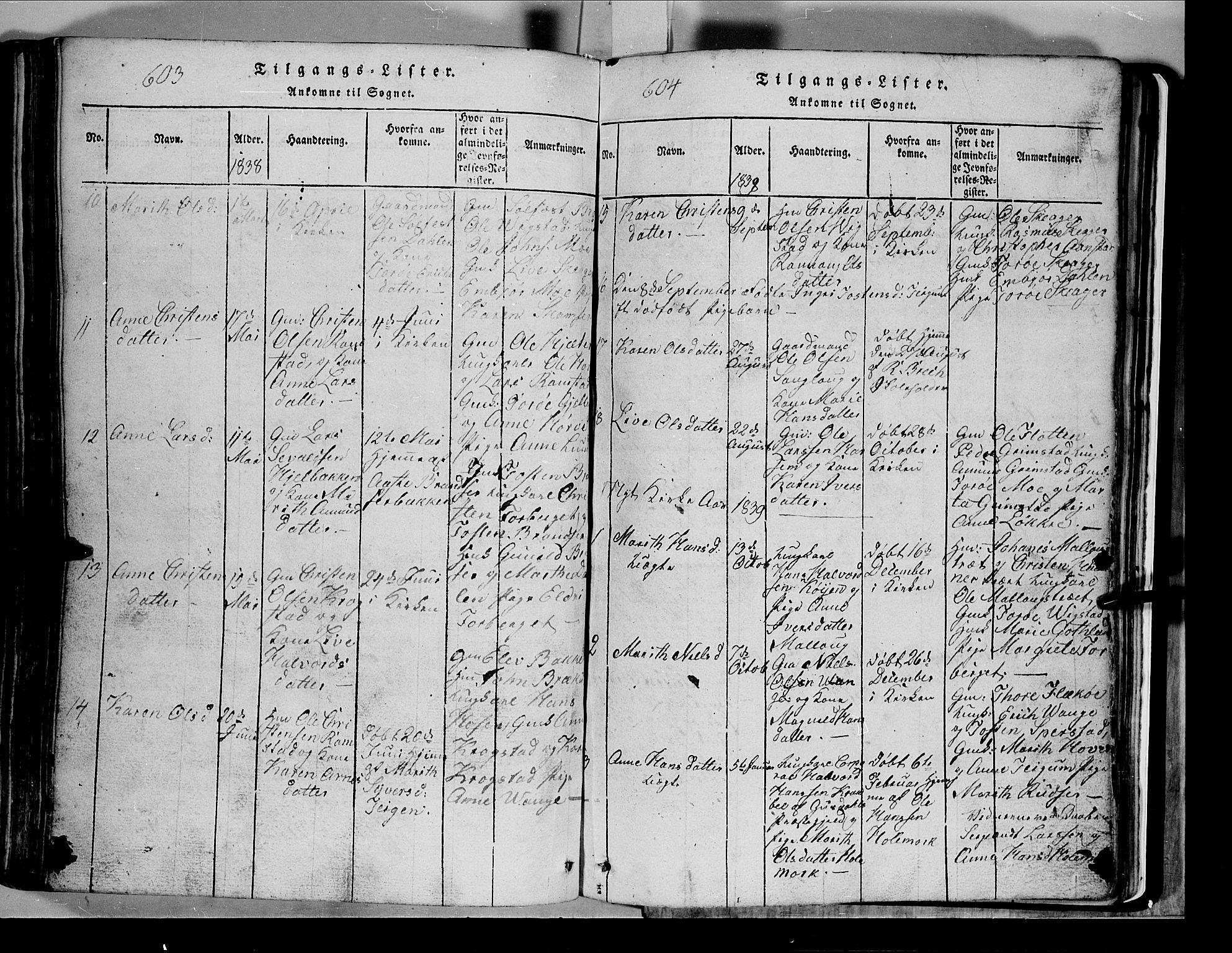 SAH, Lom prestekontor, L/L0003: Klokkerbok nr. 3, 1815-1844, s. 603-604