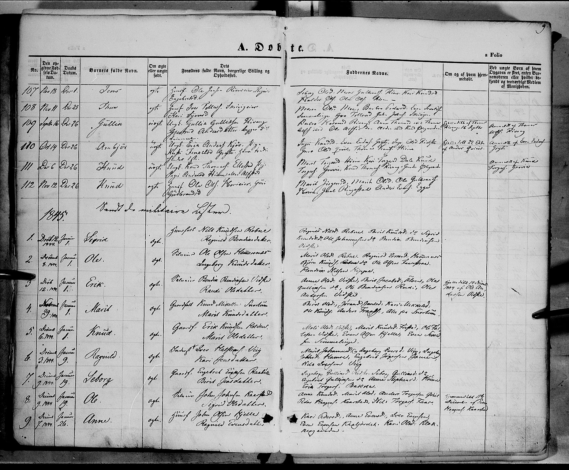 SAH, Vestre Slidre prestekontor, Ministerialbok nr. 1, 1844-1855, s. 9