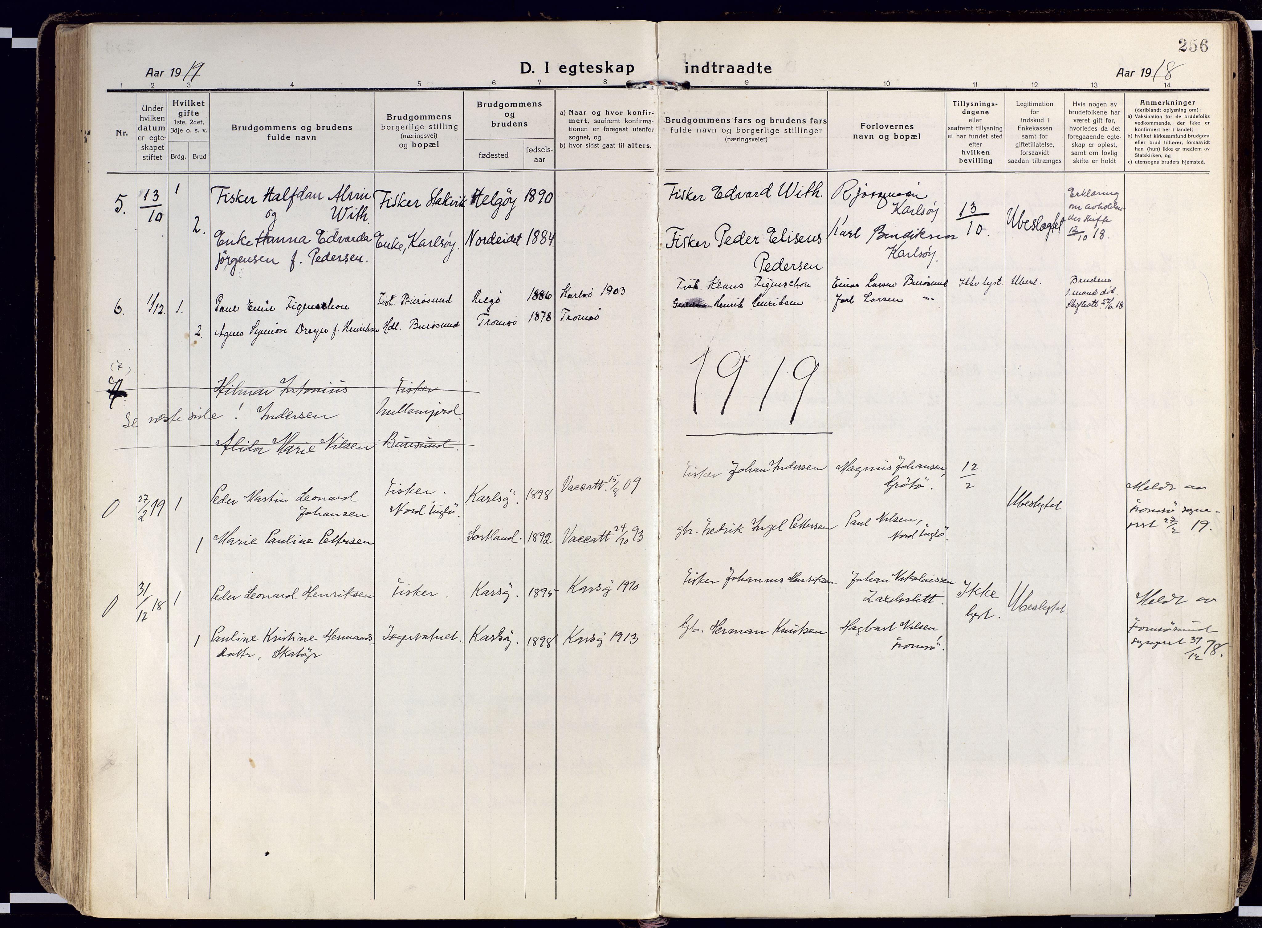 SATØ, Karlsøy sokneprestembete, Ministerialbok nr. 15, 1918-1929, s. 256