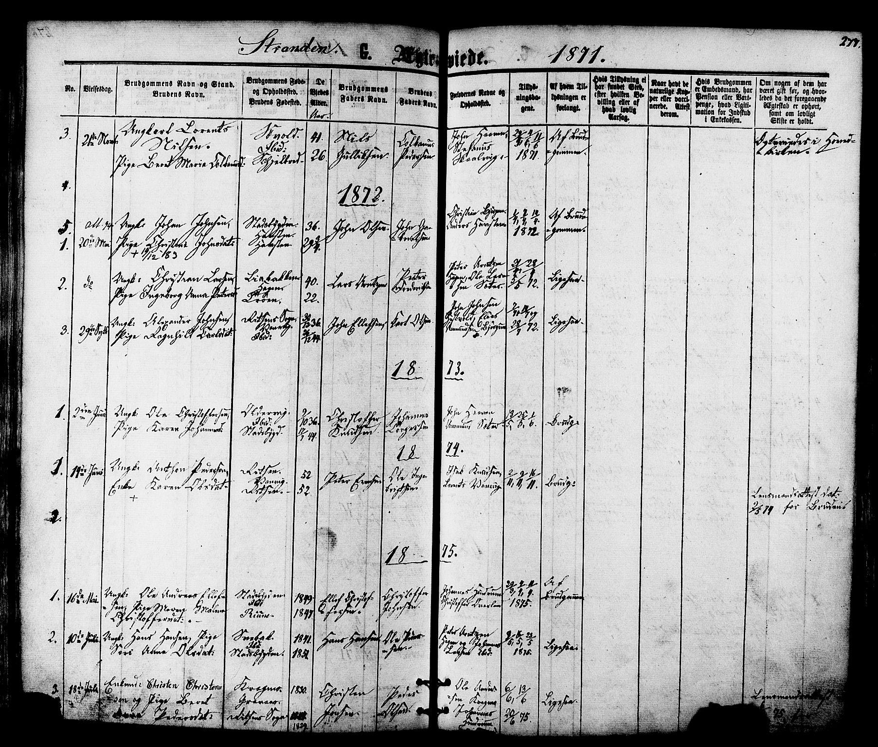 SAT, Ministerialprotokoller, klokkerbøker og fødselsregistre - Nord-Trøndelag, 701/L0009: Ministerialbok nr. 701A09 /2, 1864-1882, s. 277
