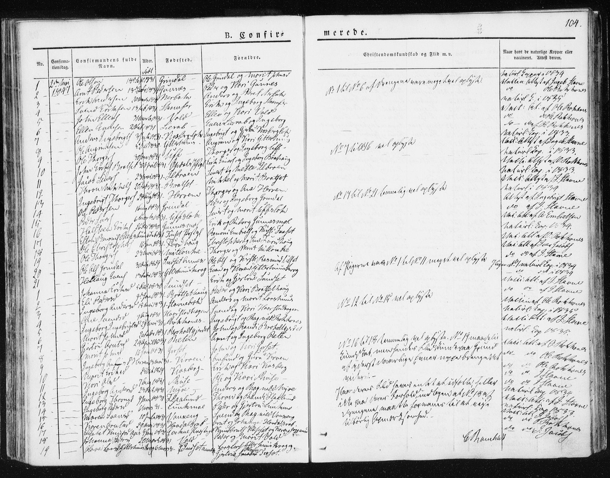 SAT, Ministerialprotokoller, klokkerbøker og fødselsregistre - Sør-Trøndelag, 674/L0869: Ministerialbok nr. 674A01, 1829-1860, s. 104