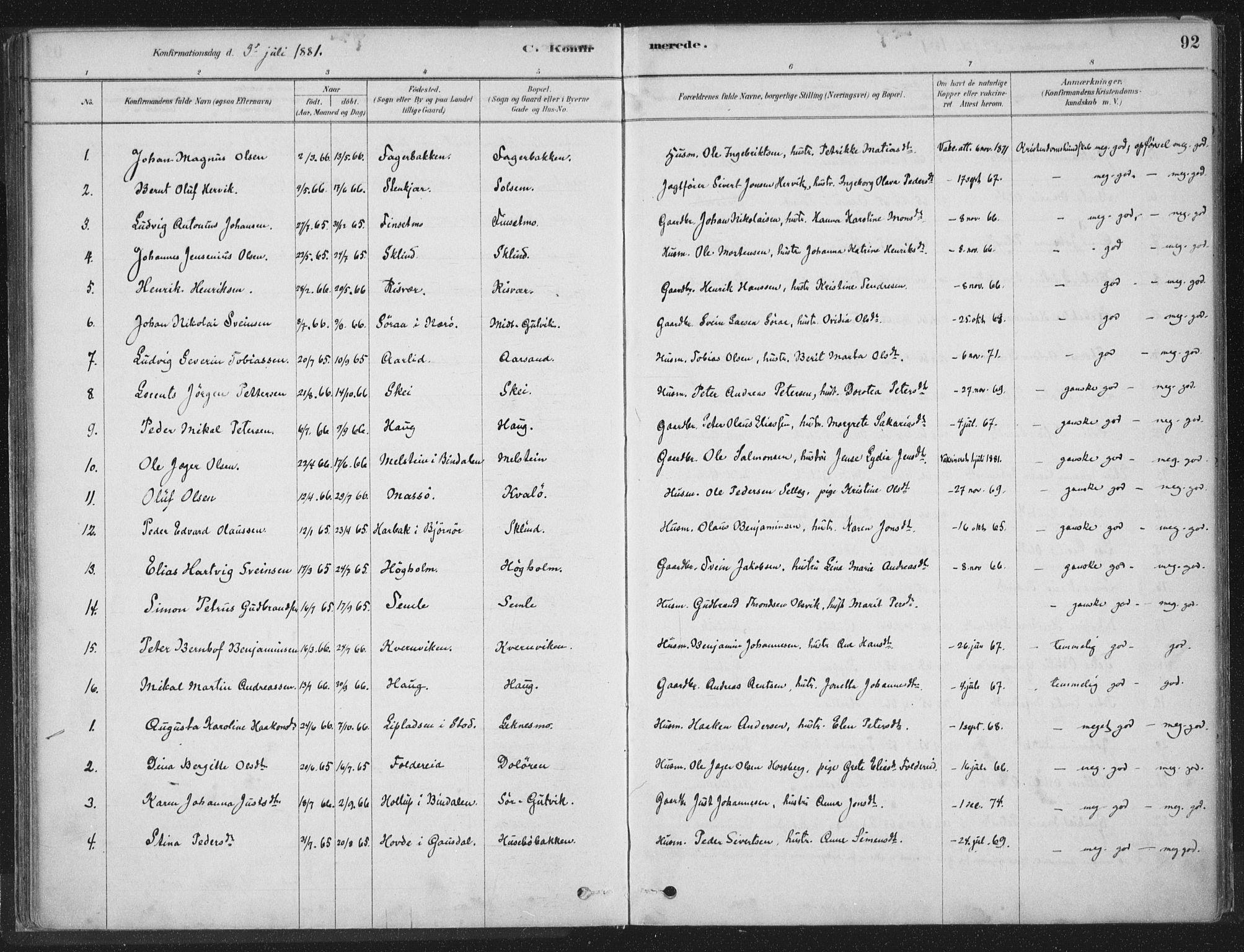 SAT, Ministerialprotokoller, klokkerbøker og fødselsregistre - Nord-Trøndelag, 788/L0697: Ministerialbok nr. 788A04, 1878-1902, s. 92