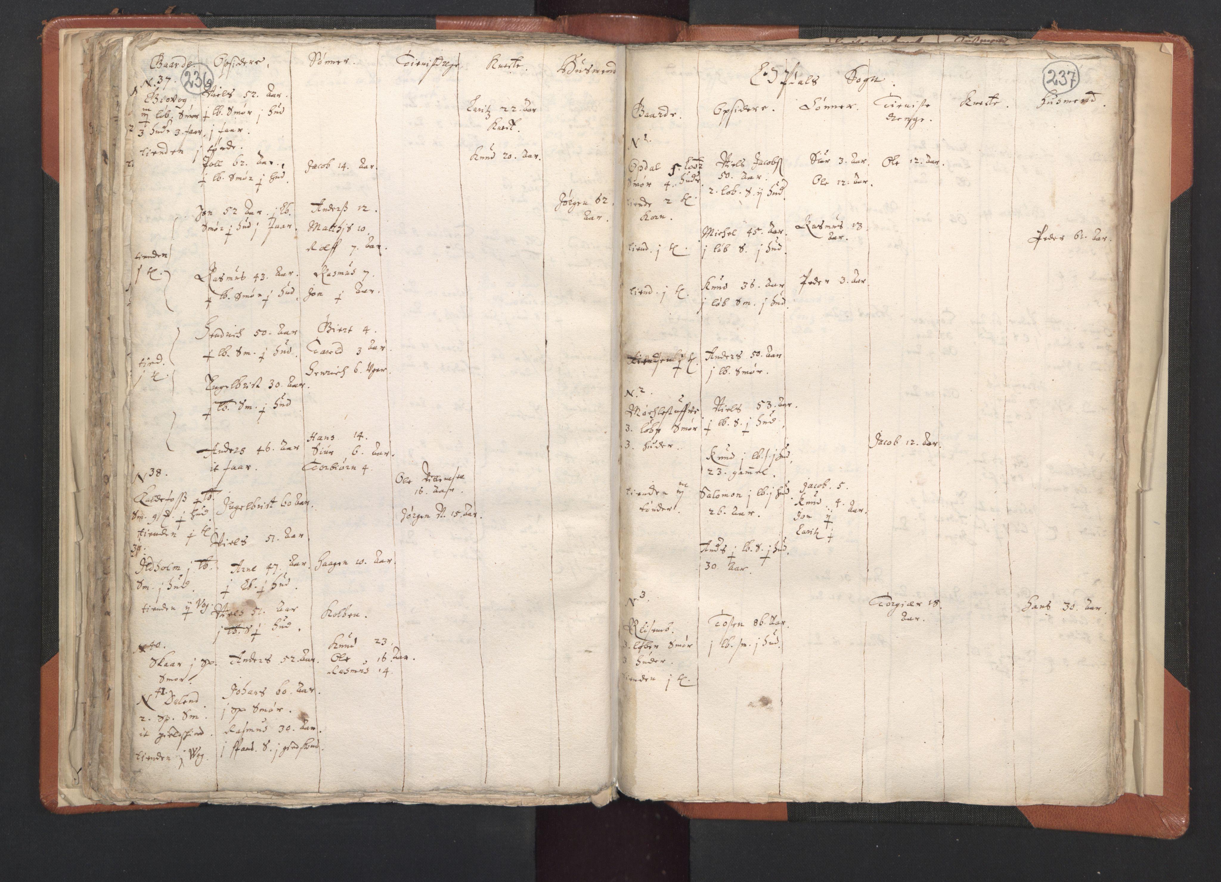 RA, Sogneprestenes manntall 1664-1666, nr. 20: Sunnhordland prosti, 1664-1666, s. 236-237