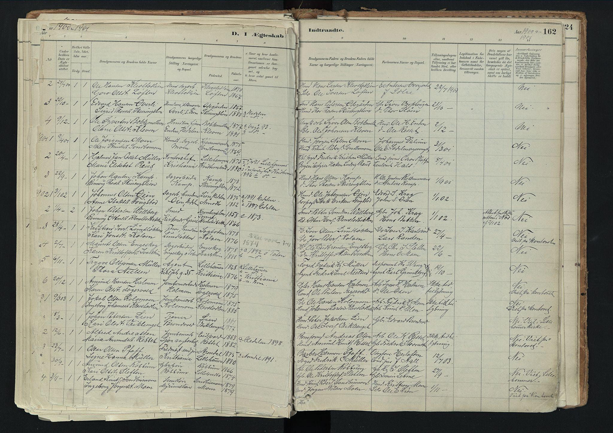 SAH, Nord-Fron prestekontor, Ministerialbok nr. 3, 1884-1914, s. 162