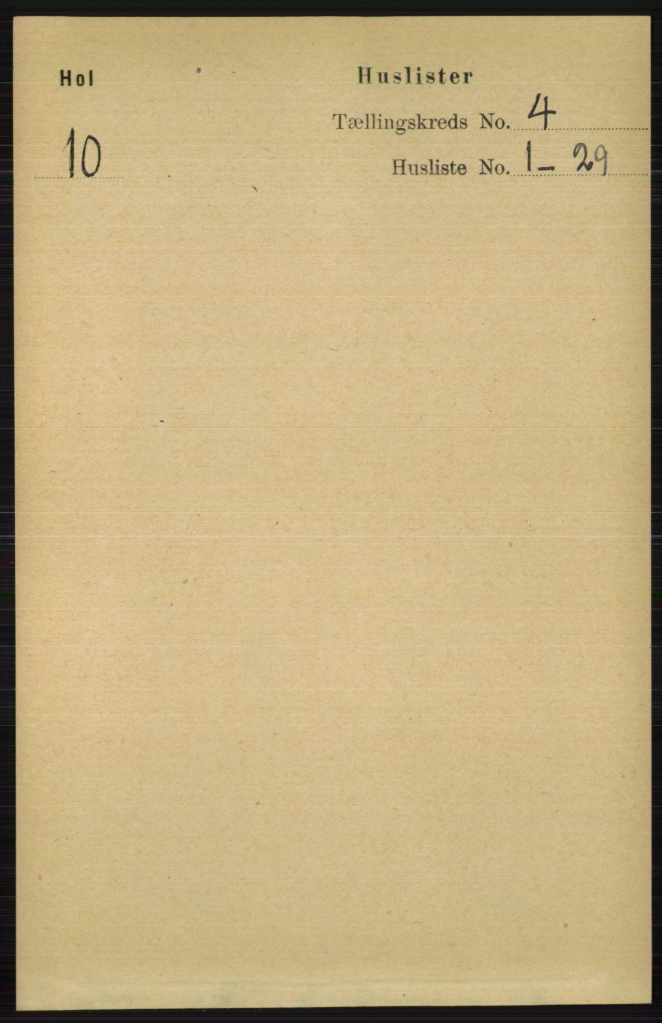 RA, Folketelling 1891 for 0620 Hol herred, 1891, s. 1225