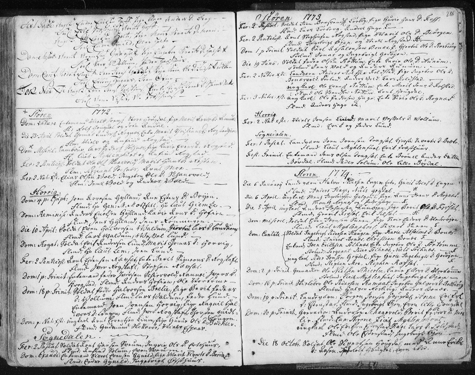 SAT, Ministerialprotokoller, klokkerbøker og fødselsregistre - Sør-Trøndelag, 687/L0991: Ministerialbok nr. 687A02, 1747-1790, s. 258