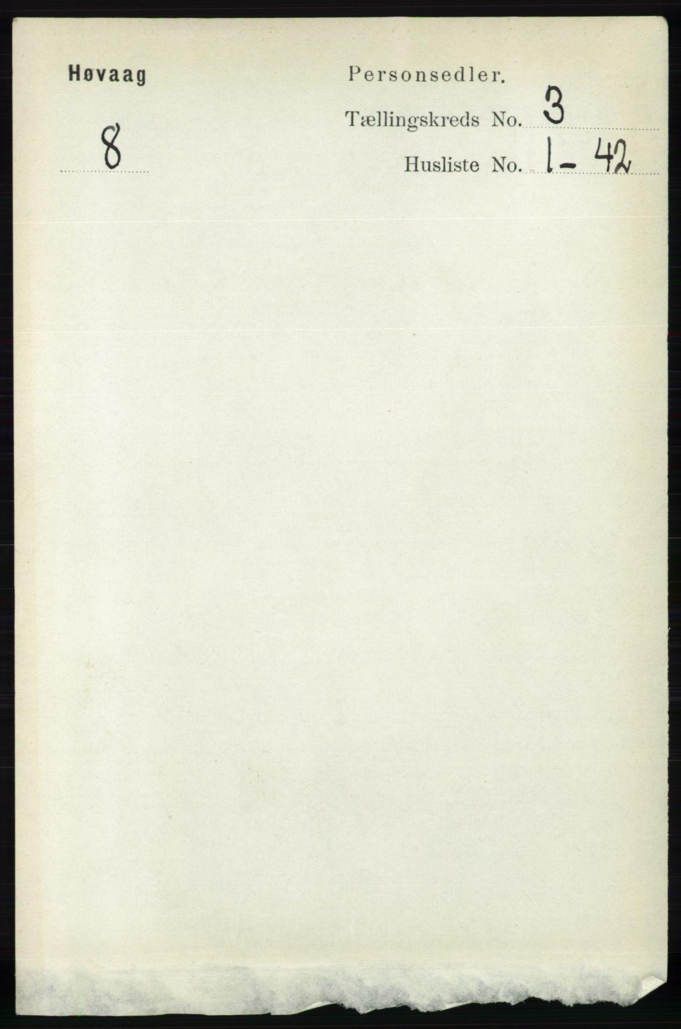 RA, Folketelling 1891 for 0927 Høvåg herred, 1891, s. 1010