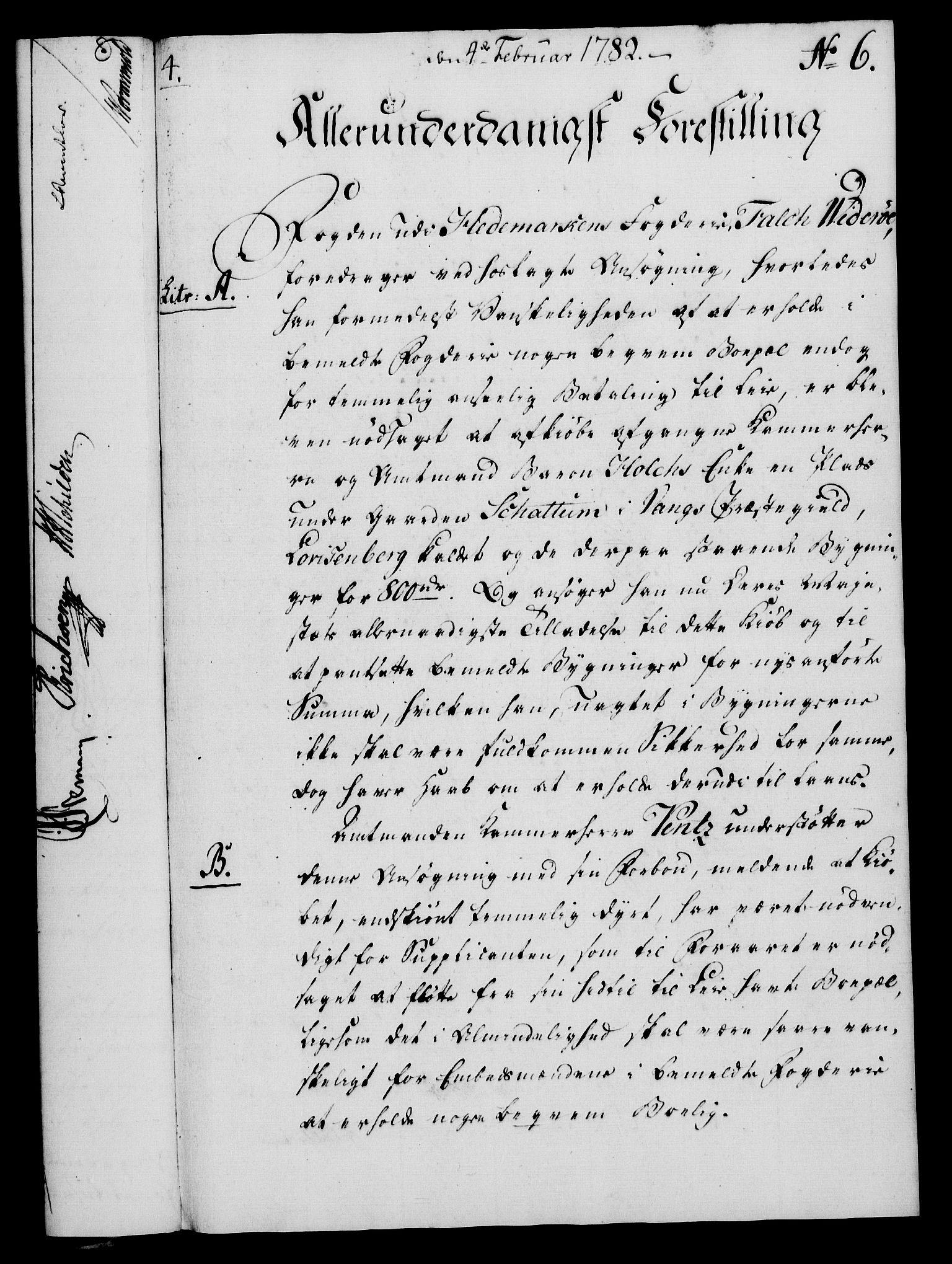 RA, Rentekammeret, Kammerkanselliet, G/Gf/Gfa/L0064: Norsk relasjons- og resolusjonsprotokoll (merket RK 52.64), 1782, s. 52